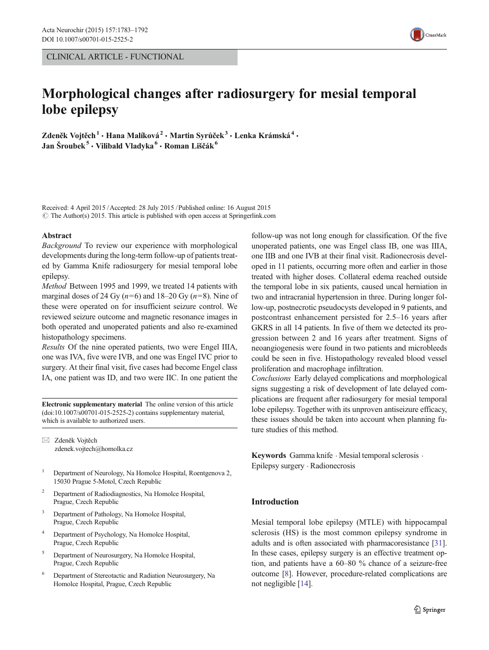 Morphological changes after radiosurgery for mesial temporal