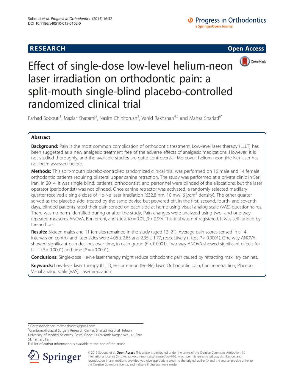 Effect of single-dose low-level helium-neon laser
