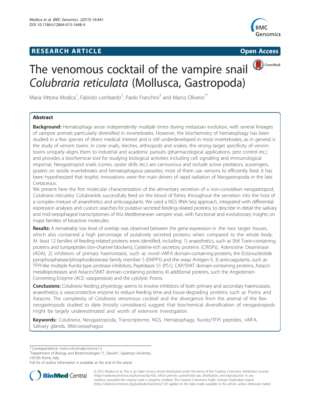 The venomous cocktail of the vampire snail Colubraria