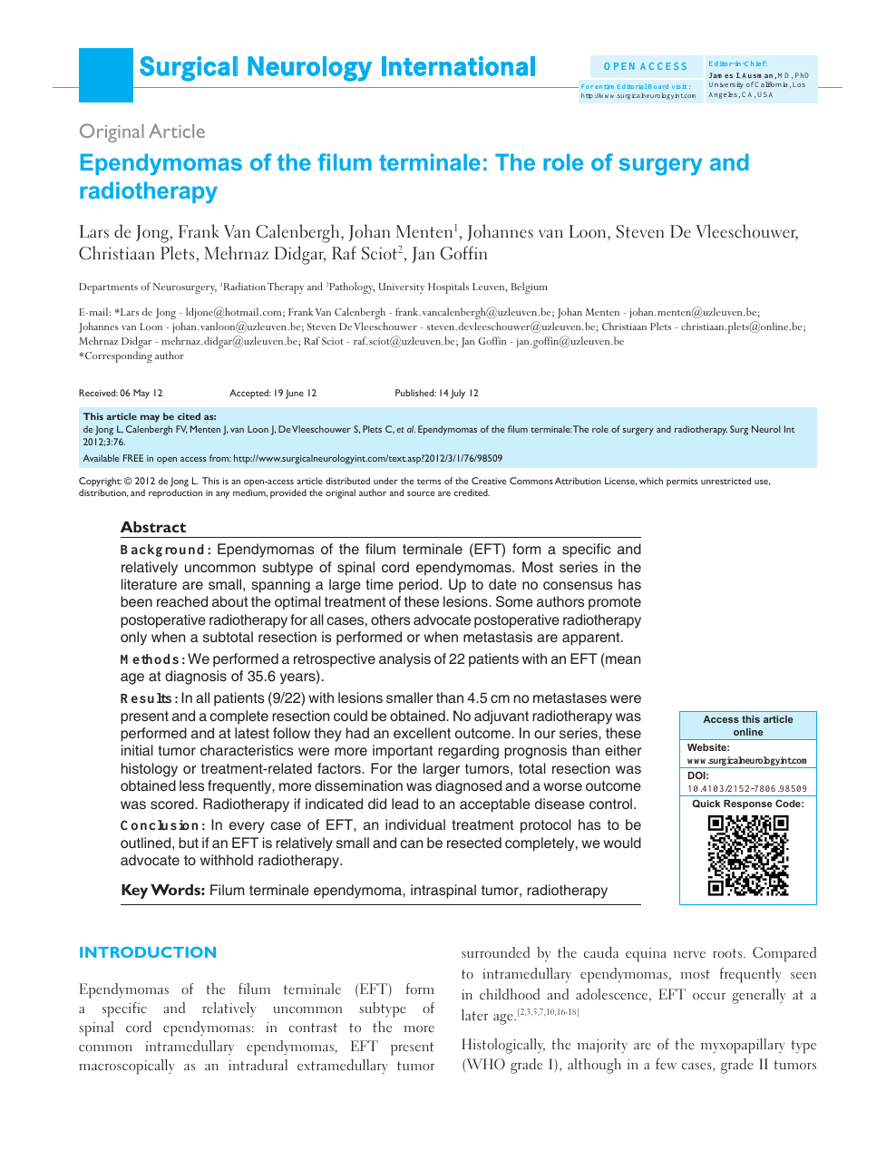 Ependymomas Of The Filum Terminale The Role Of Surgery And Radiotherapy Topic Of Research Paper In Clinical Medicine Download Scholarly Article Pdf And Read For Free On Cyberleninka Open Science Hub Diagnostic criteria, surgical indication and filum pathology. ependymomas of the filum terminale the