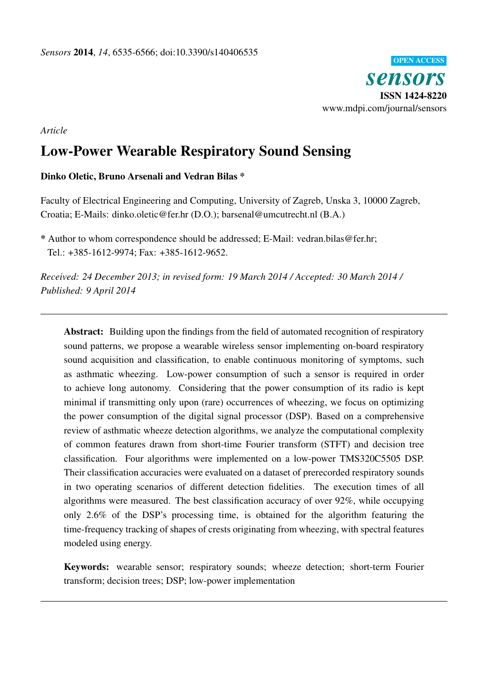 Low-Power Wearable Respiratory Sound Sensing – topic of