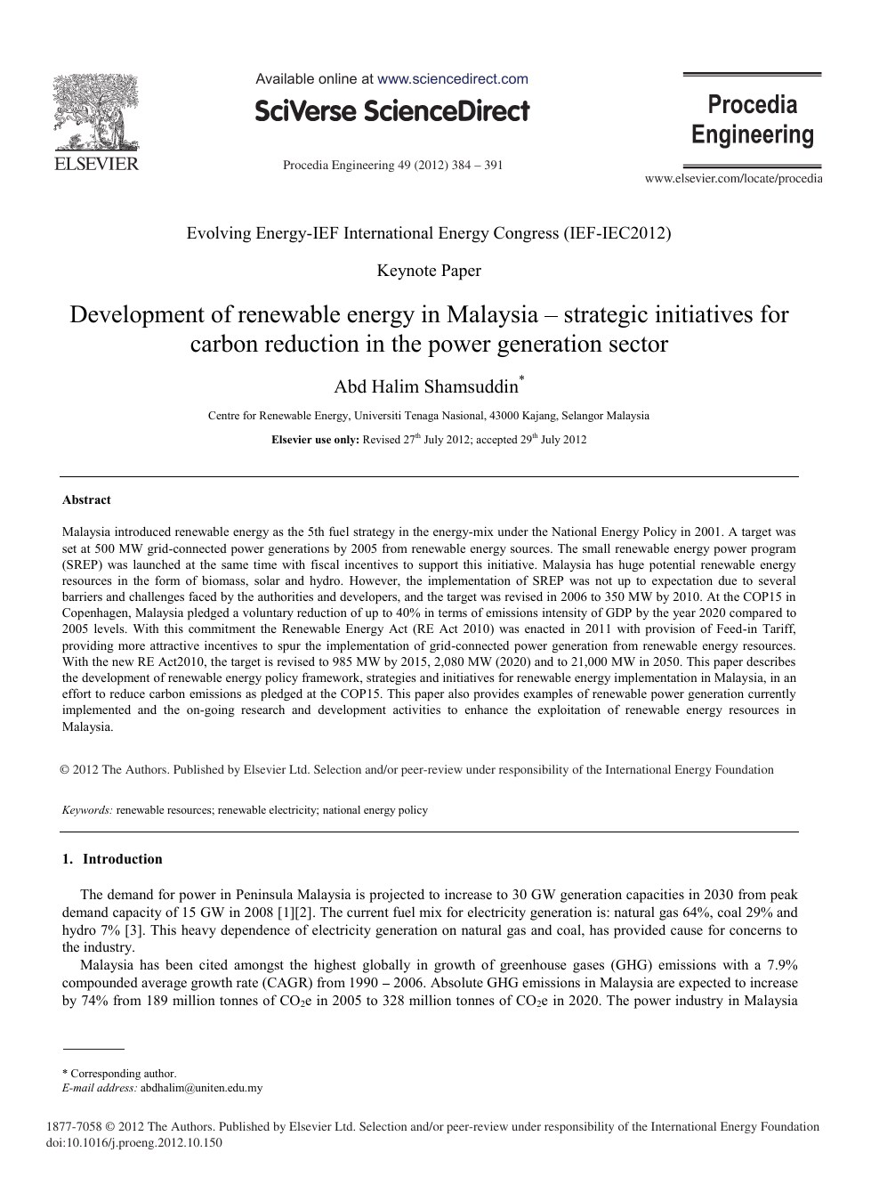 Development Of Renewable Energy In Malaysia Strategic Initiatives For Carbon Reduction In The Power Generation Sector Topic Of Research Paper In Earth And Related Environmental Sciences Download Scholarly Article Pdf And Read