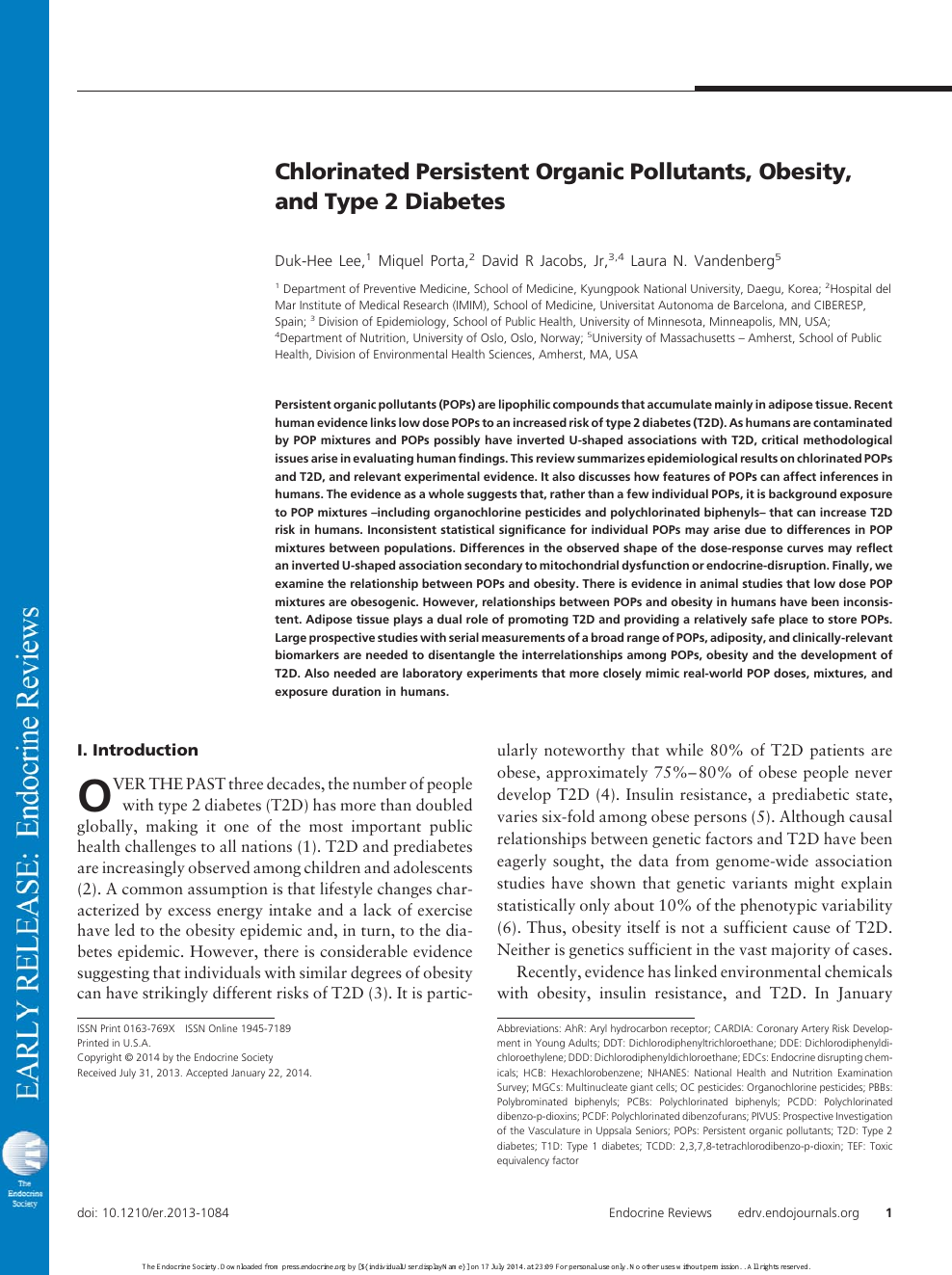 Chlorinated Persistent Organic Pollutants, Obesity, and Type 2