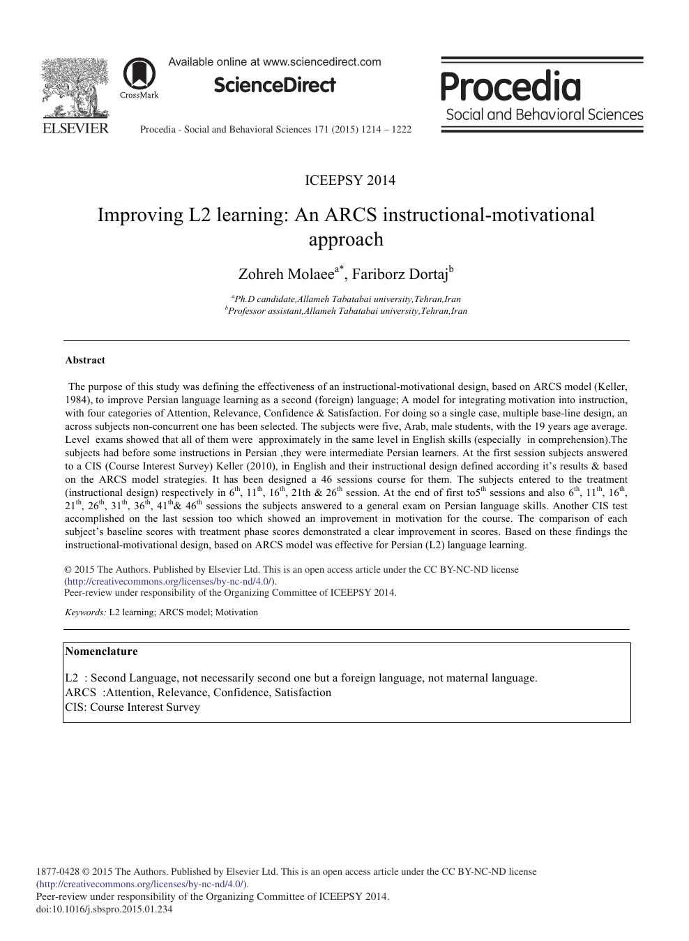 Improving L2 Learning An Arcs Instructional Motivational Approach Topic Of Research Paper In Educational Sciences Download Scholarly Article Pdf And Read For Free On Cyberleninka Open Science Hub