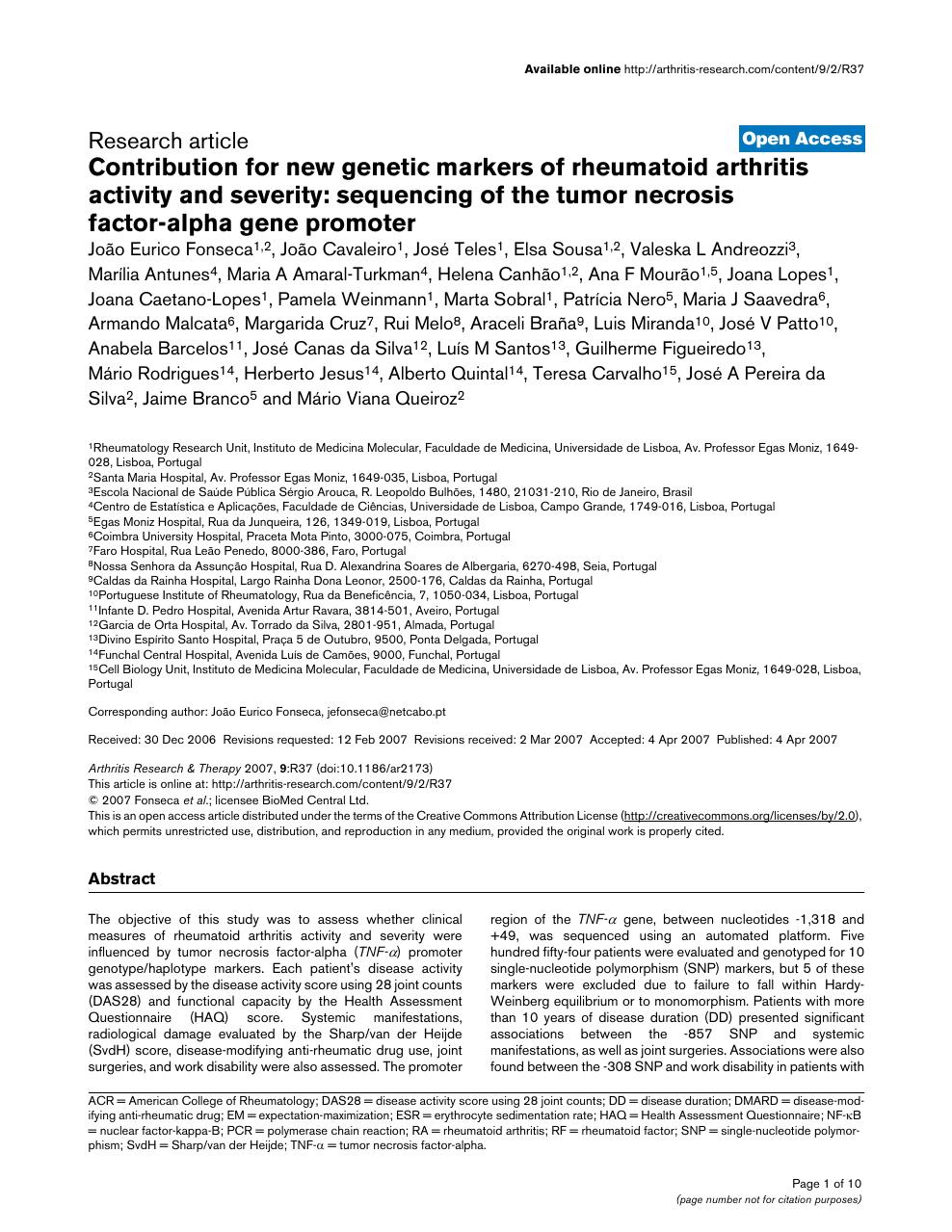 rheumatoid arthritis research paper