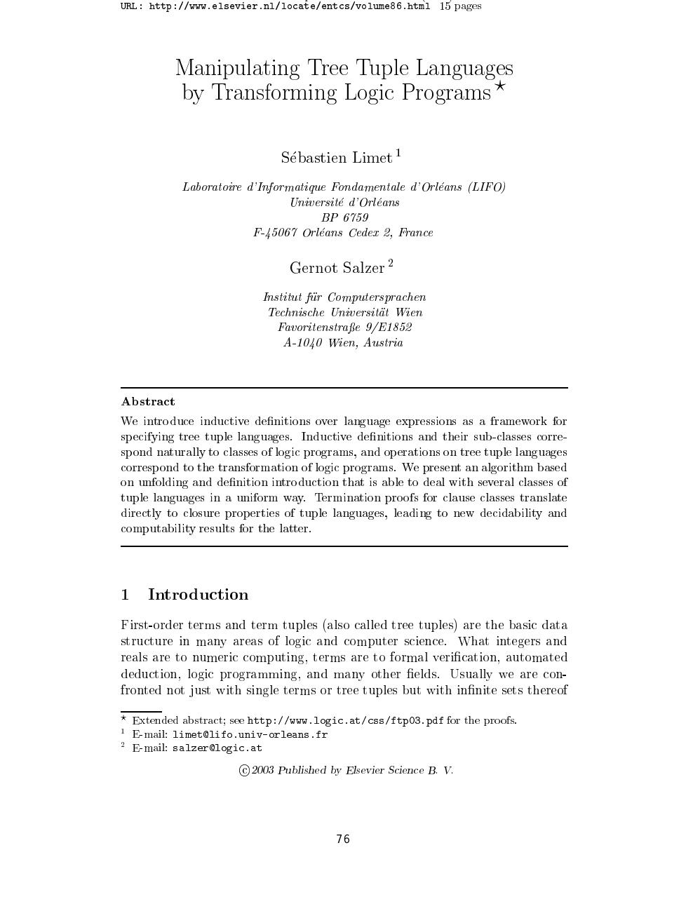 Manipulating Tree Tuple Languages by Transforming Logic Programs1