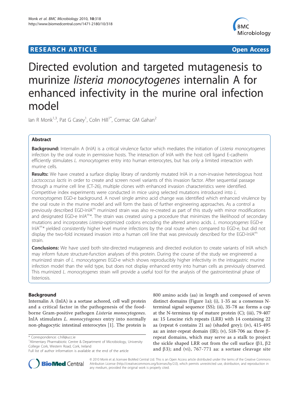 Directed Evolution And Targeted Mutagenesis To Murinize Listeria Monocytogenes Internalin A For Enhanced Infectivity In The Murine Oral Infection Model Topic Of Research Paper Biological Sciences Download Scholarly Article Pdf