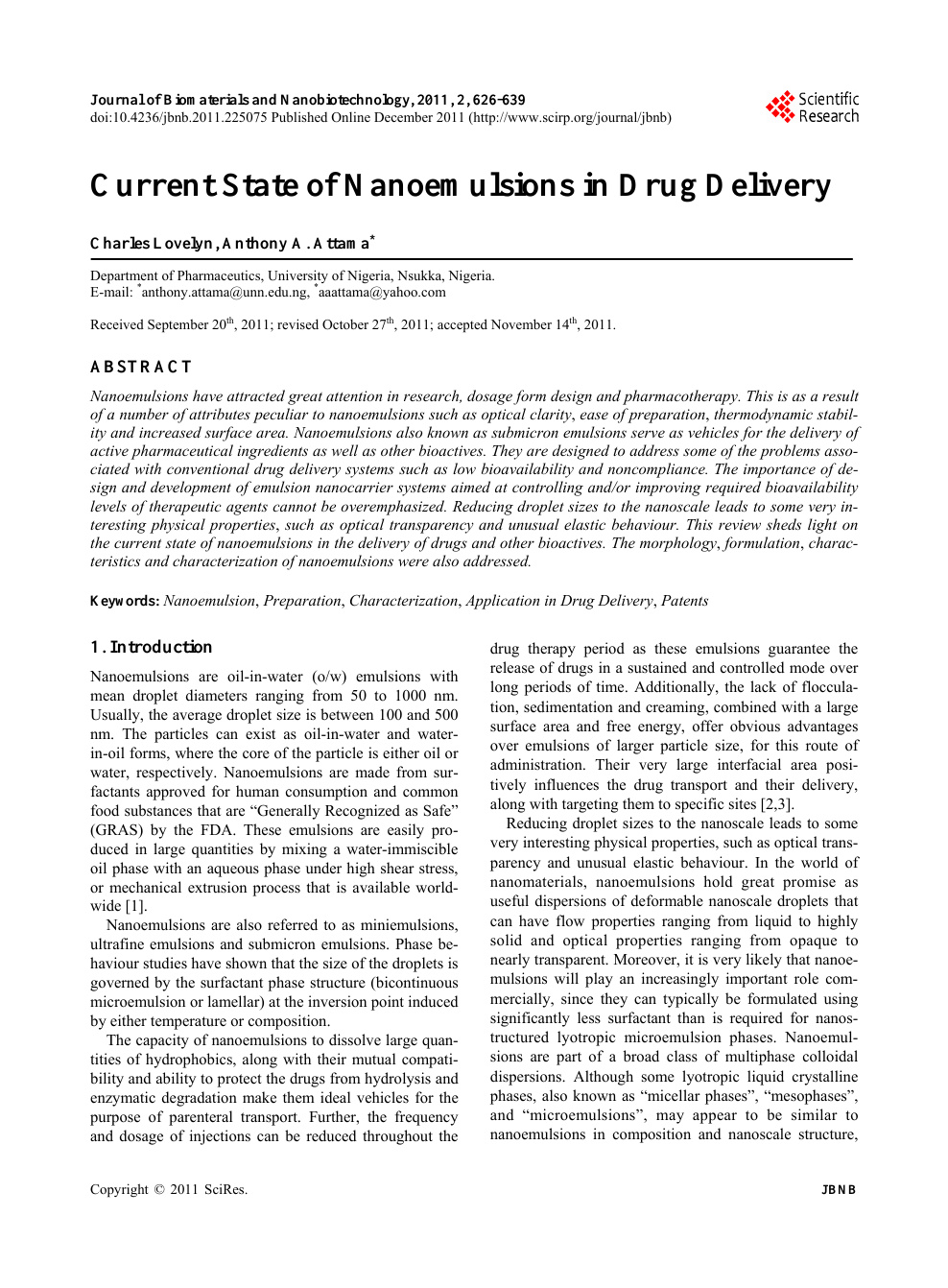 Current State of Nanoemulsions in Drug Delivery – topic of