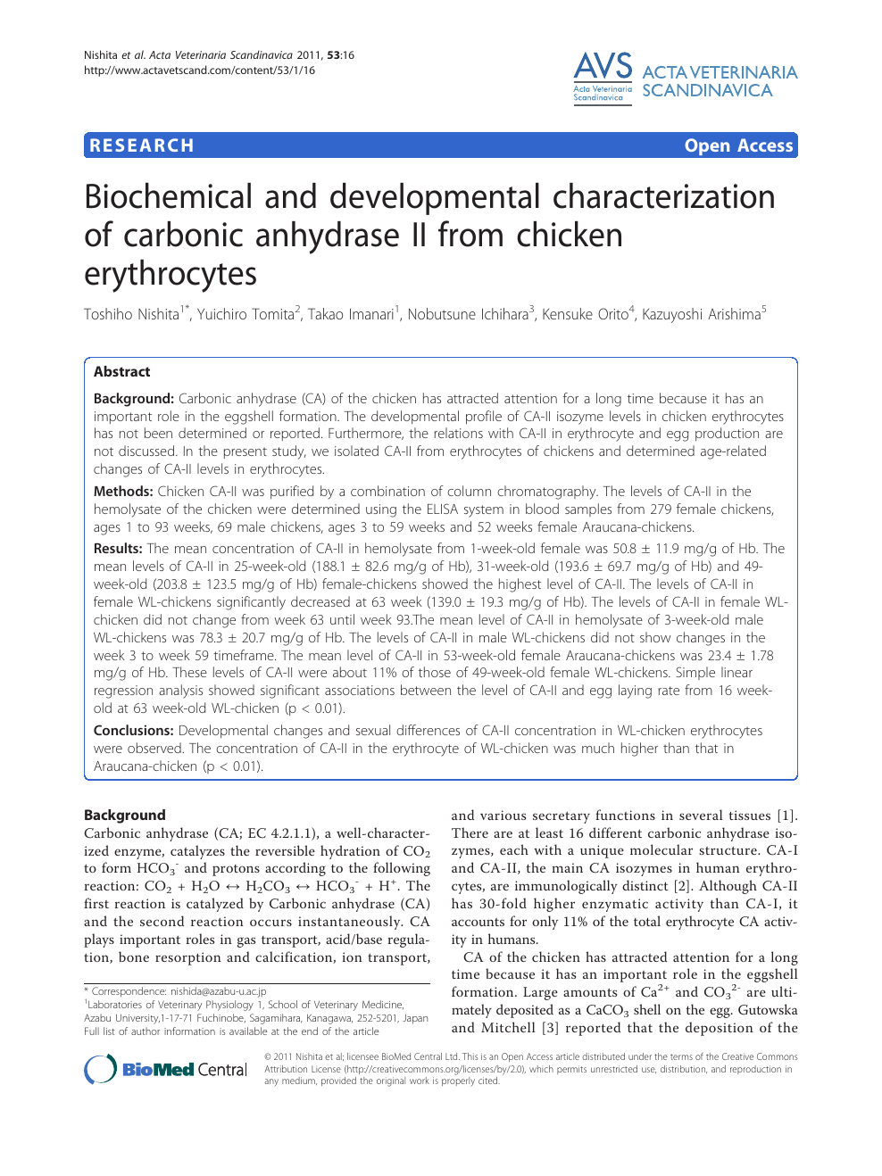 Biochemical and developmental characterization of carbonic