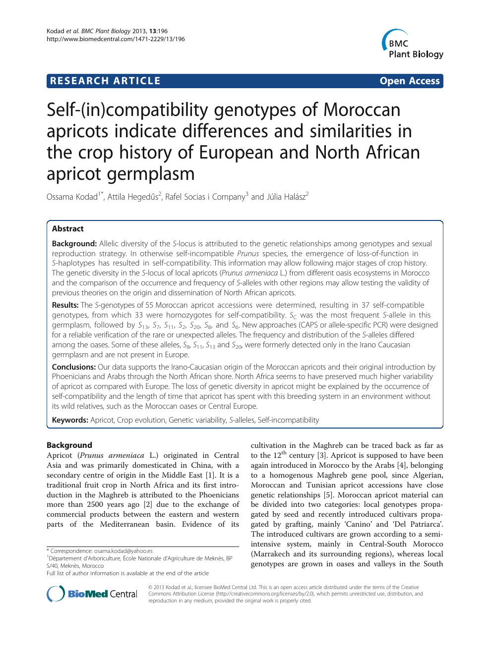 Self-(in)compatibility genotypes of Moroccan apricots