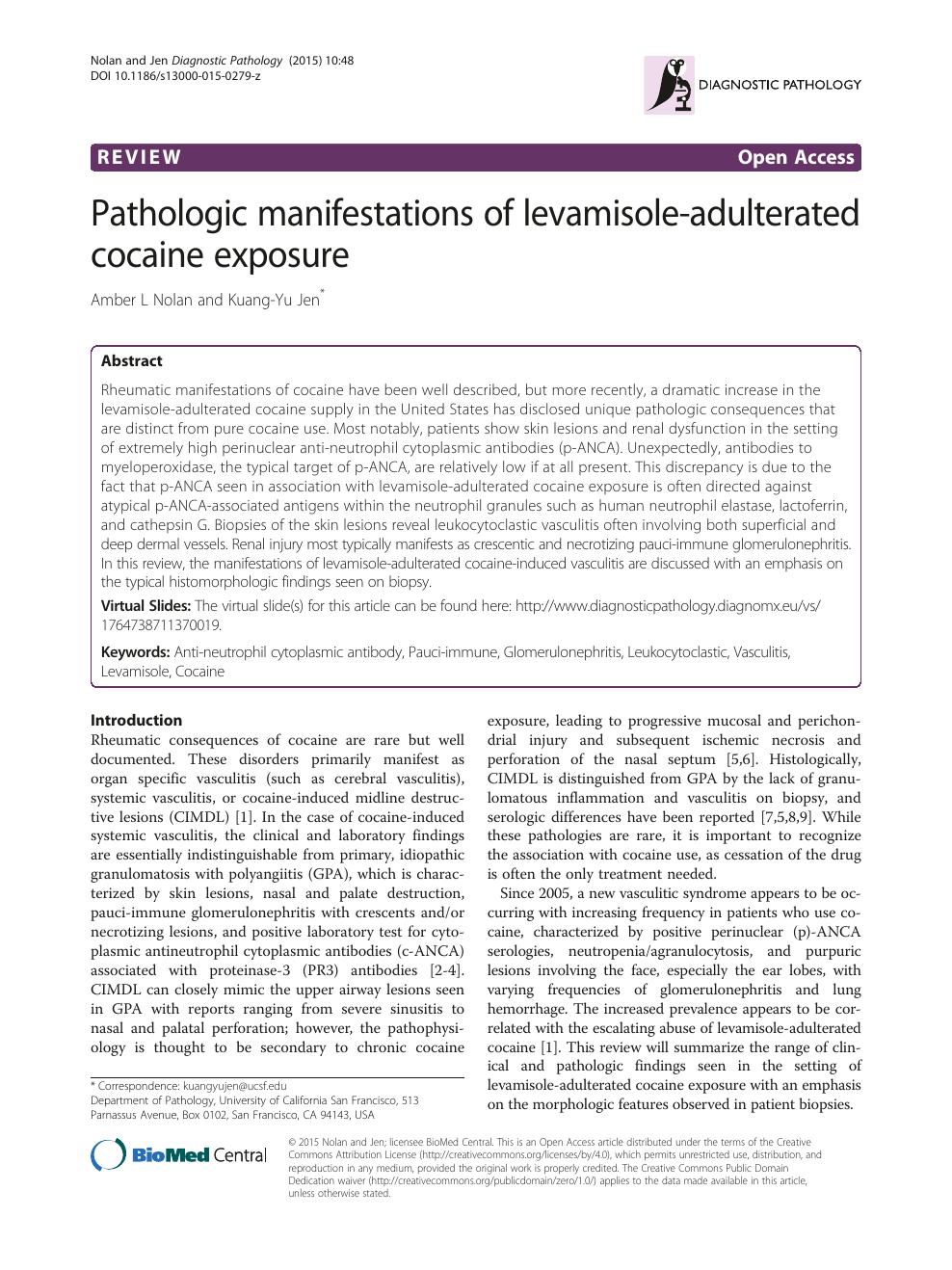Pathologic manifestations of levamisole-adulterated cocaine