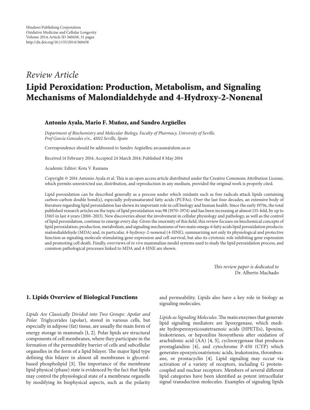 Lipid Peroxidation: Production, Metabolism, and Signaling