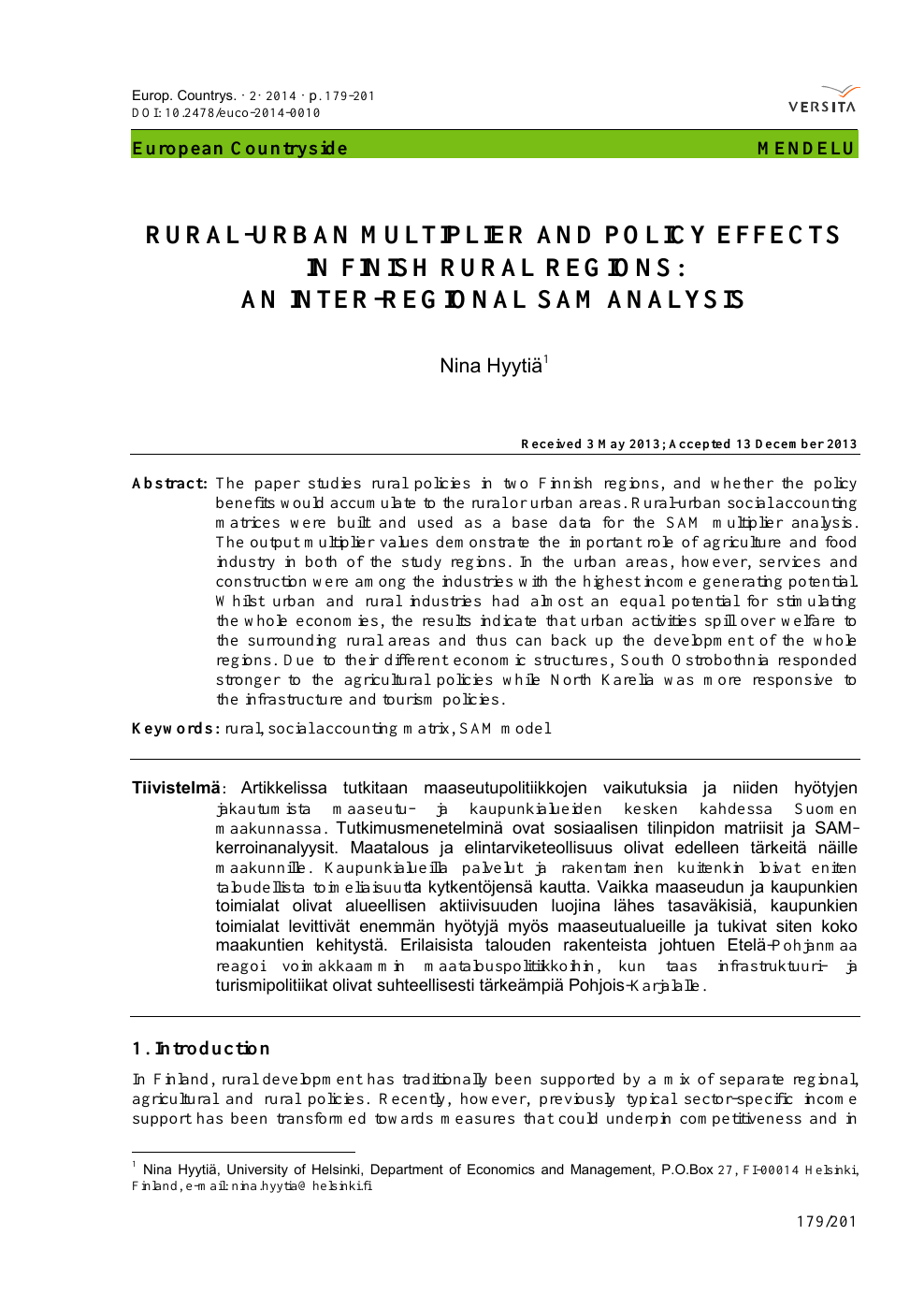 Rural-Urban Multiplier and Policy Effects in Finish Rural Regions
