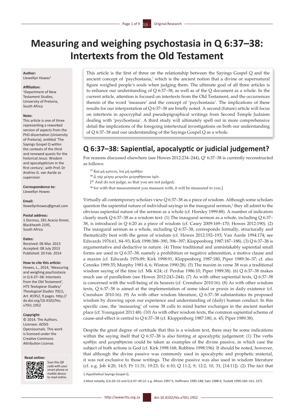 Measuring and weighing psychostasia in Q 6:37–38: Intertexts