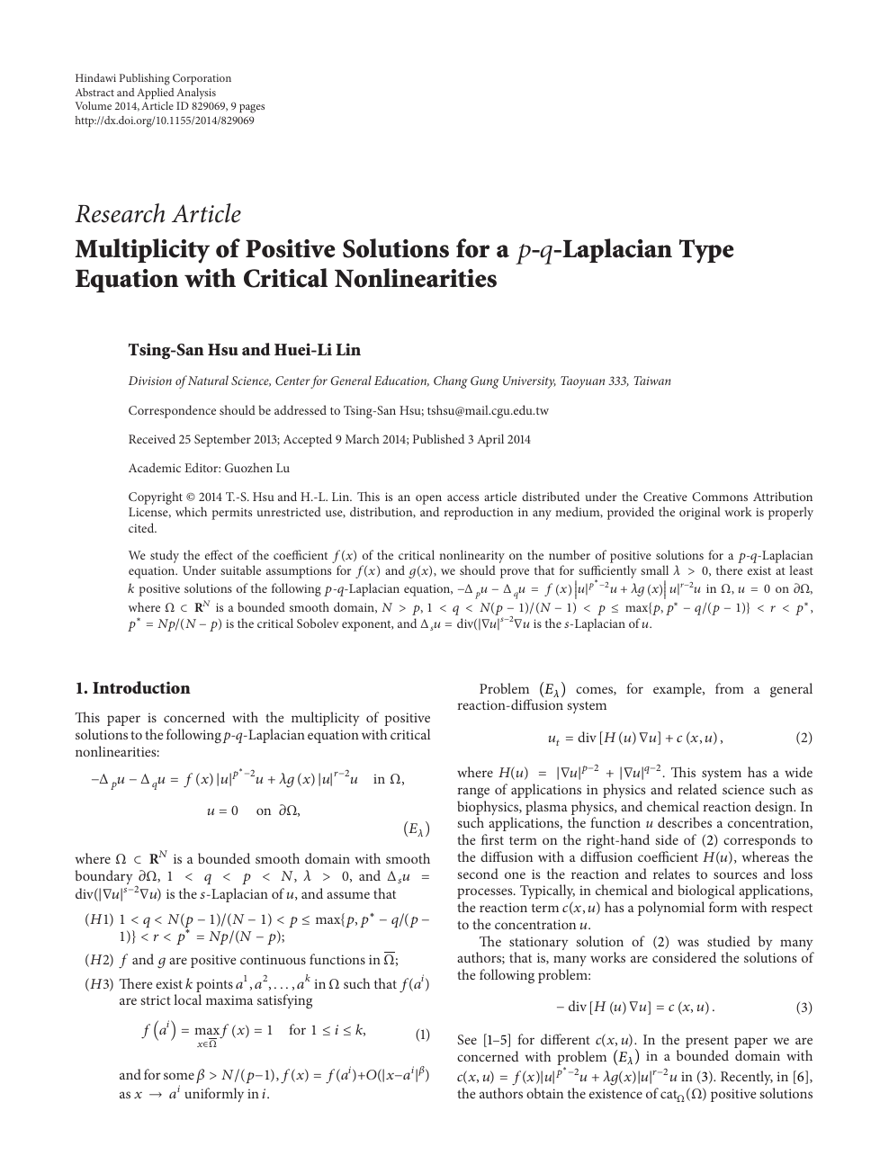 Multiplicity Of Positive Solutions For A Laplacian Type Equation With Critical Nonlinearities Topic Of Research Paper In Mathematics Download Scholarly Article Pdf And Read For Free On Cyberleninka Open Science Hub