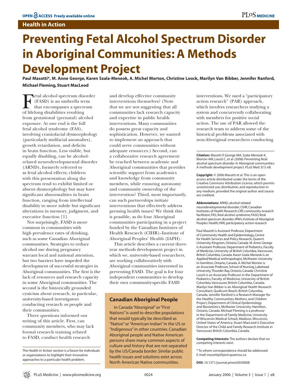 Preventing Fetal Alcohol Spectrum Disorder in Aboriginal