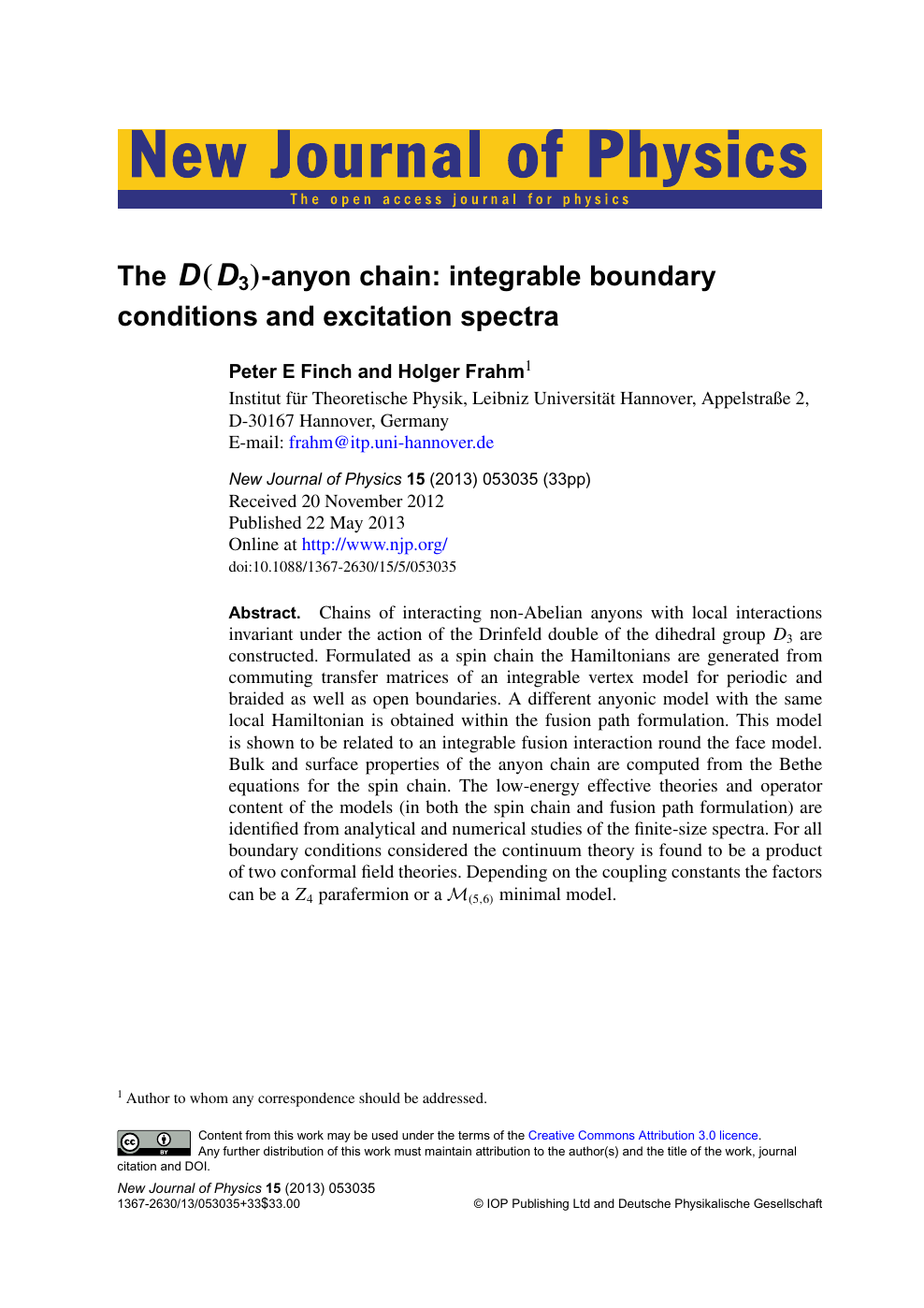 The D ( D 3 )-anyon chain: integrable boundary conditions