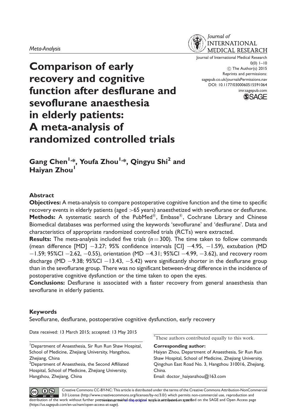 Comparison of early recovery and cognitive function after desflurane