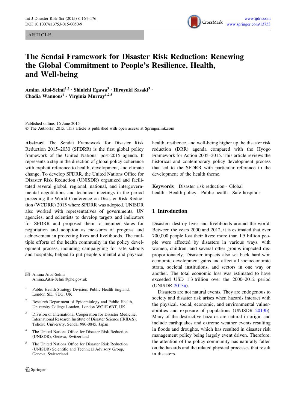 The Sendai Framework for Disaster Risk Reduction: Renewing