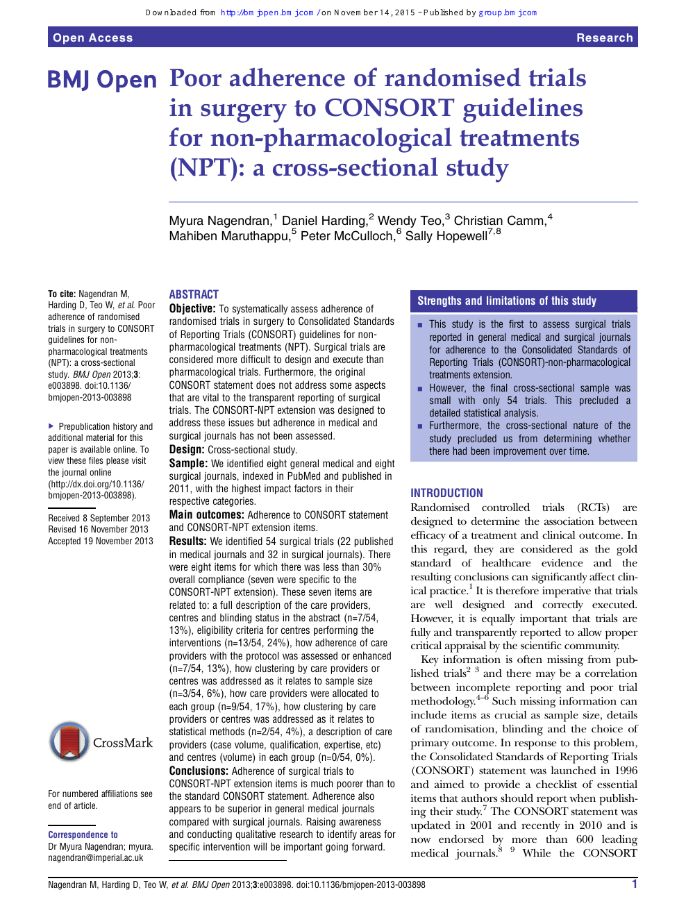 Poor Adherence Of Randomised Trials In Surgery To Consort Guidelines For Non Pharmacological Treatments Npt A Cross Sectional Study Topic Of Research Paper In Clinical Medicine Download Scholarly Article Pdf And Read For