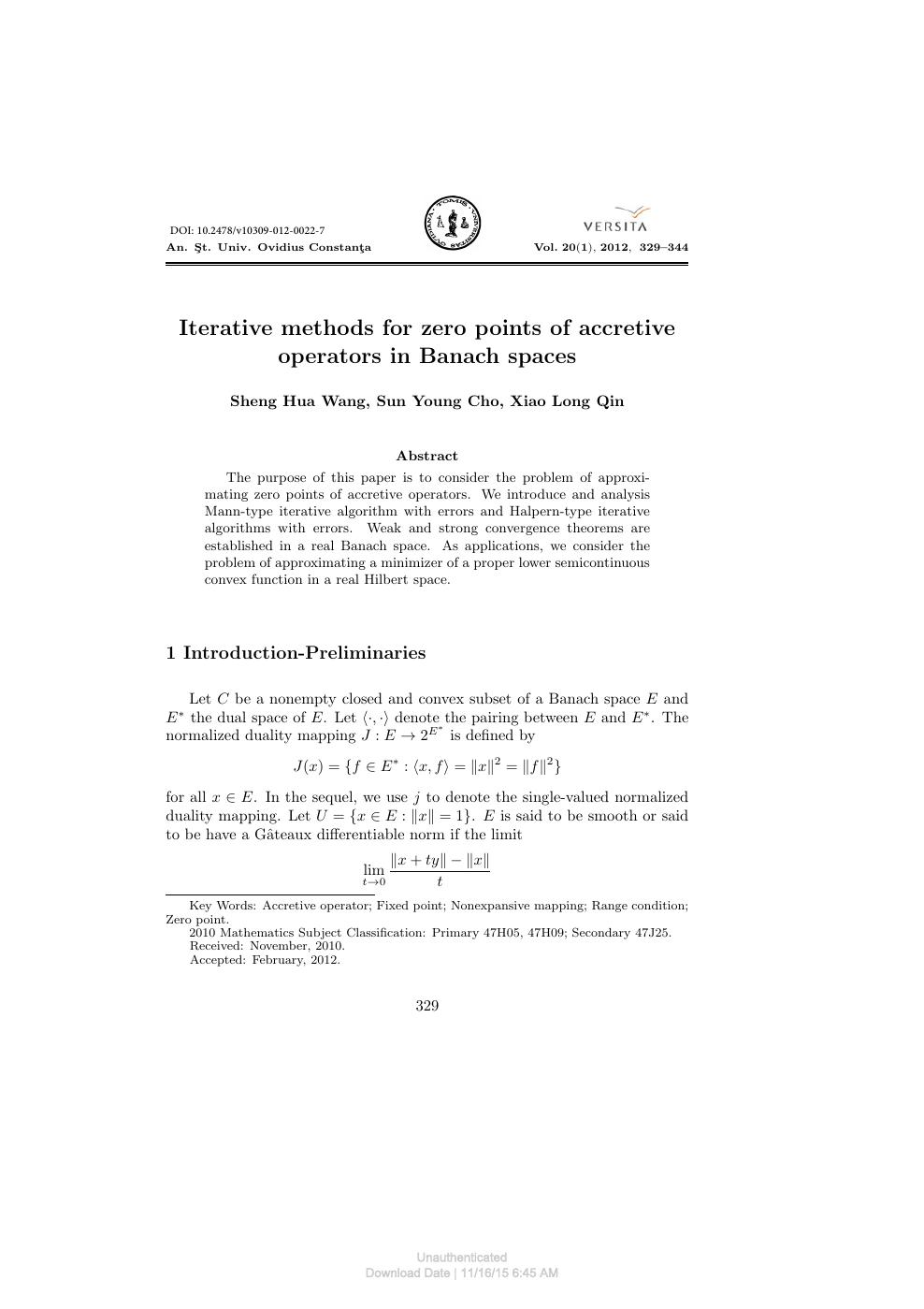 Iterative methods for zero points of accretive operators in