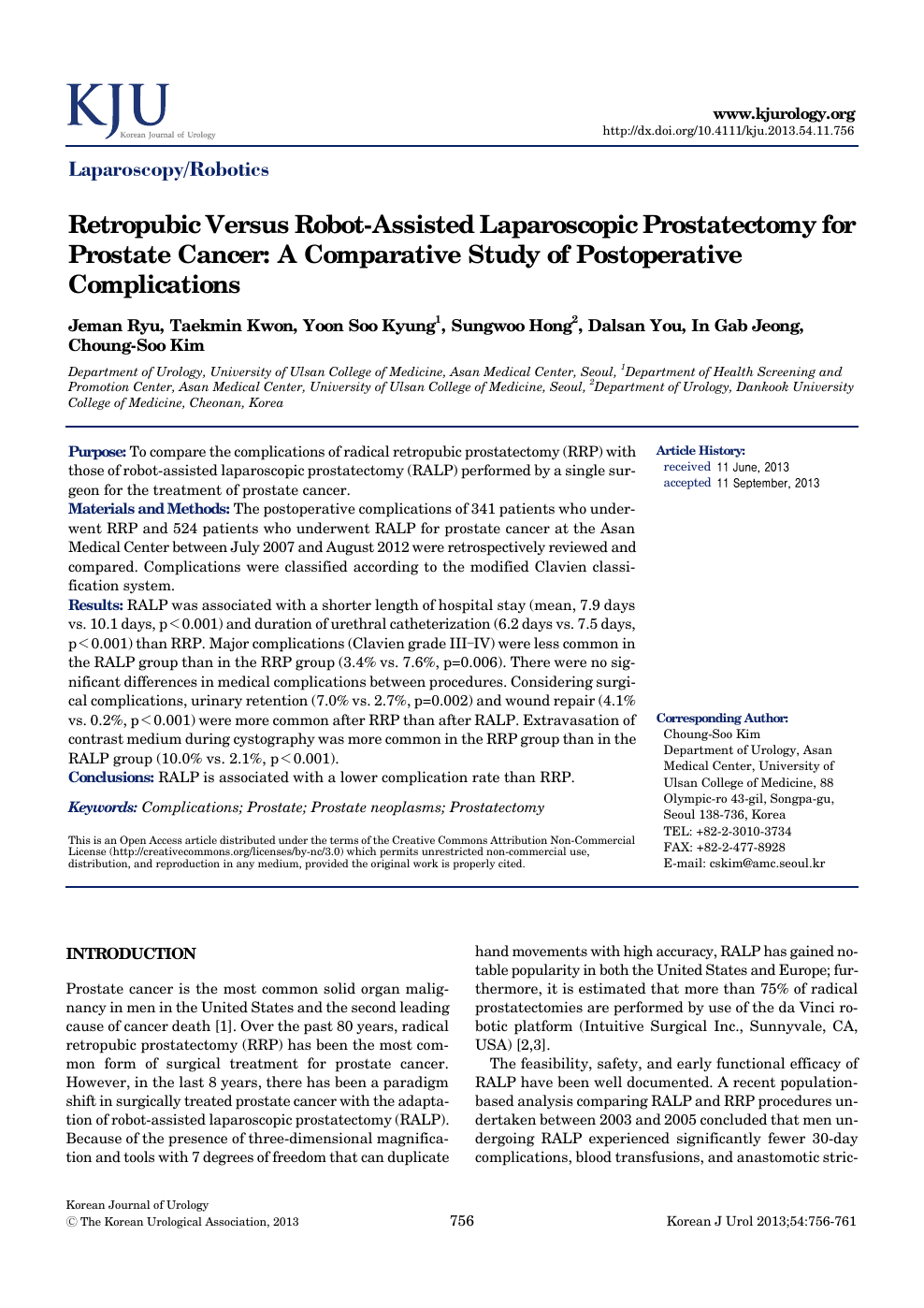 Retropubic Versus Robot Assisted Laparoscopic Prostatectomy For