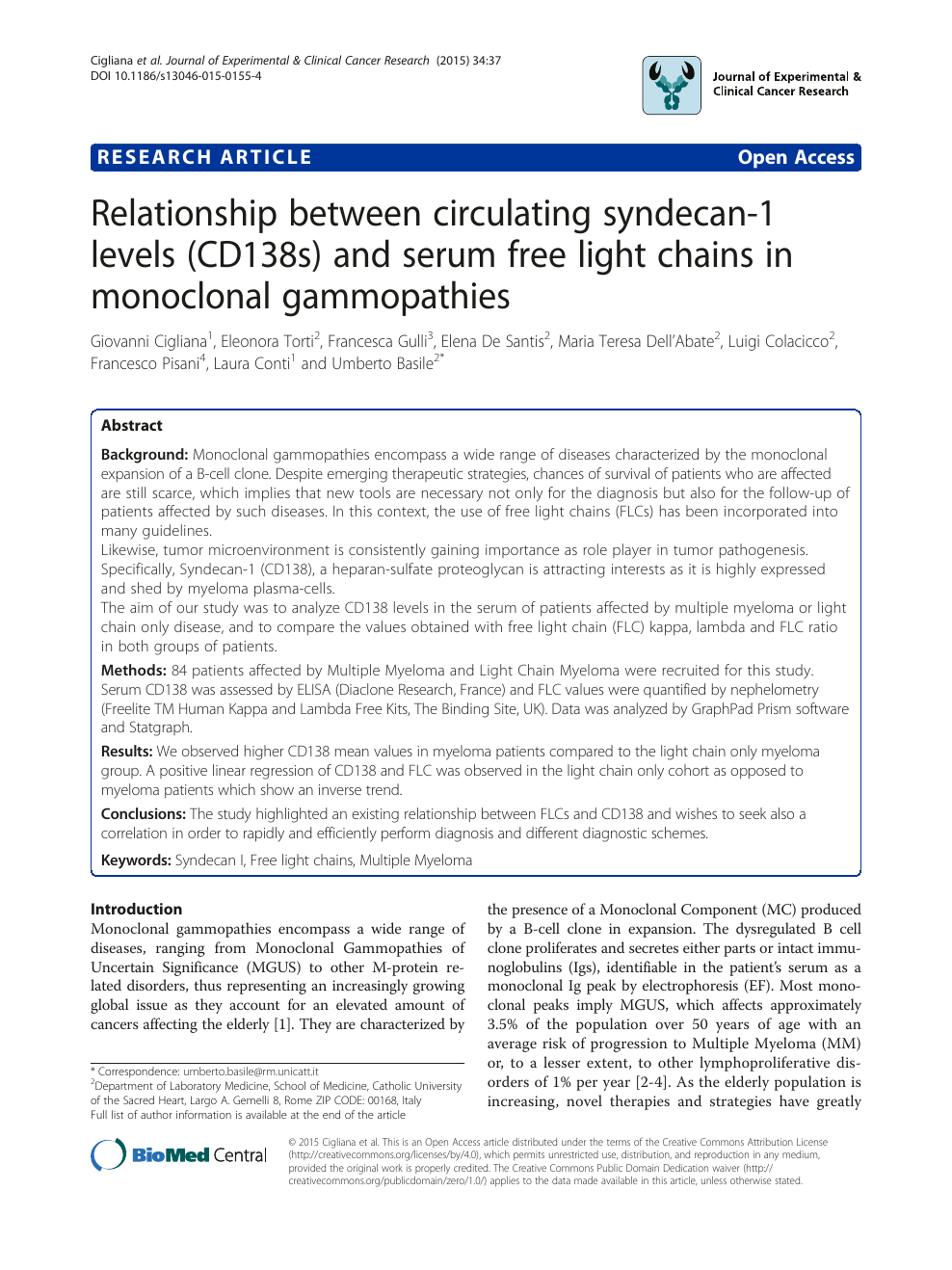 Relationship between circulating syndecan-1 levels (CD138s) and