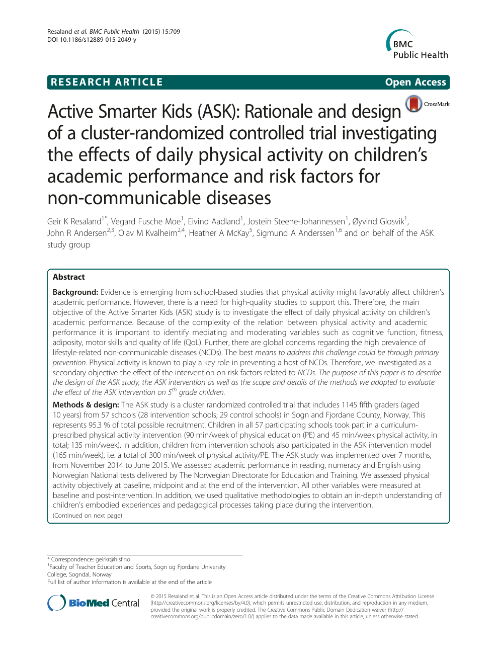 Active Smarter Kids (ASK): Rationale and design of a cluster