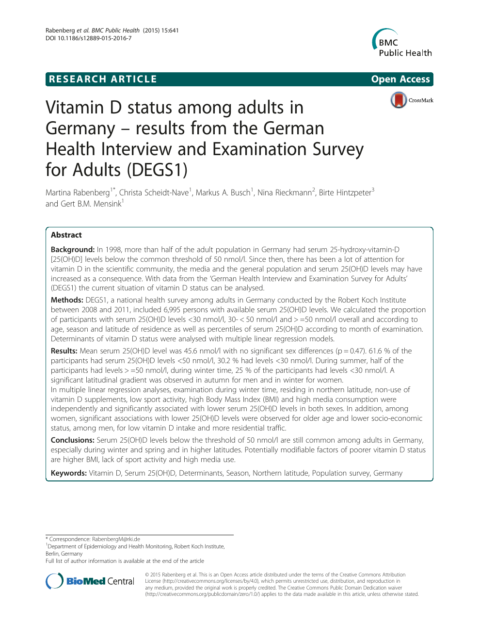Vitamin D status among adults in Germany – results from the German ...
