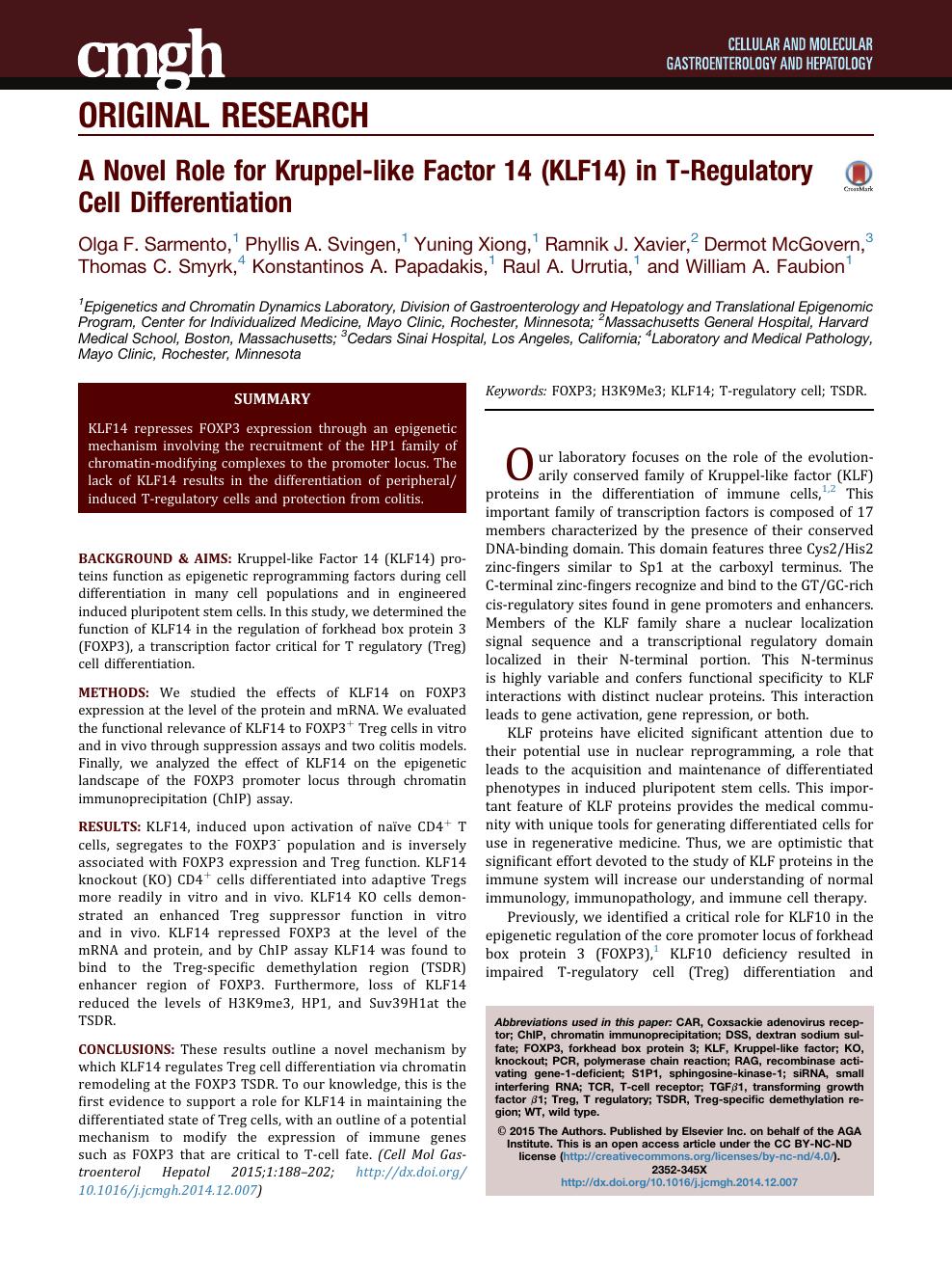 A Novel Role for Kruppel-like Factor 14 (KLF14) in T