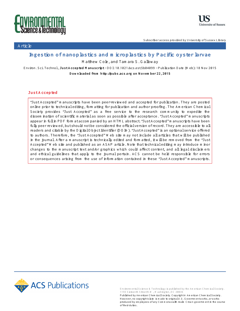 Ingestion of Nanoplastics and Microplastics by Pacific