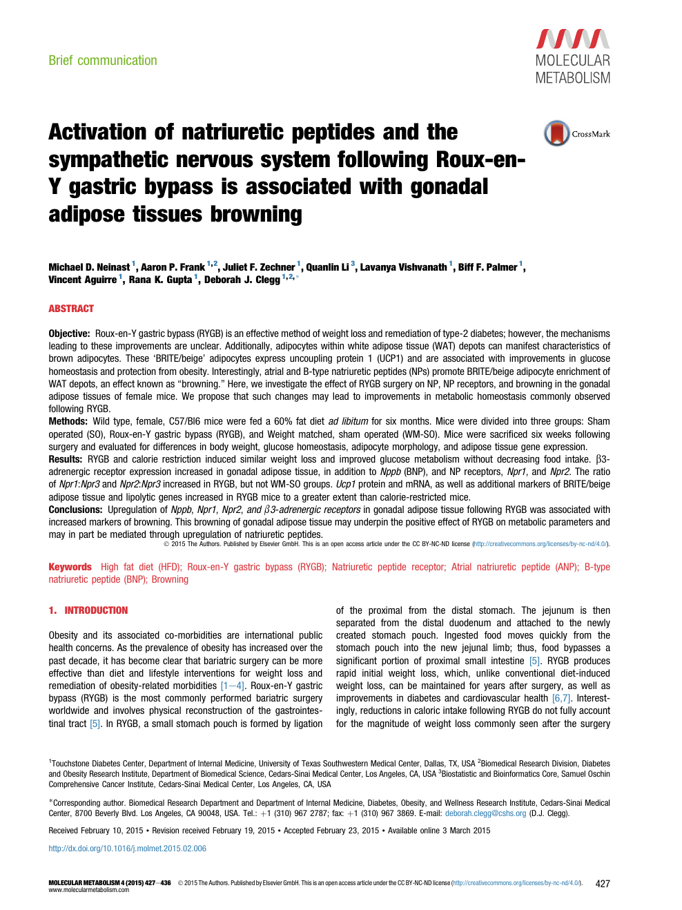Activation of natriuretic peptides and the sympathetic