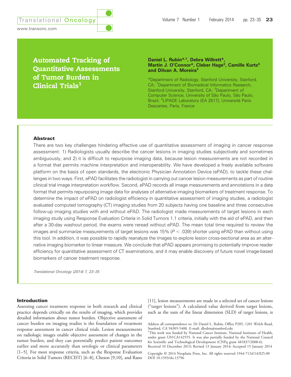 Automated Tracking of Quantitative Assessments of Tumor Burden in