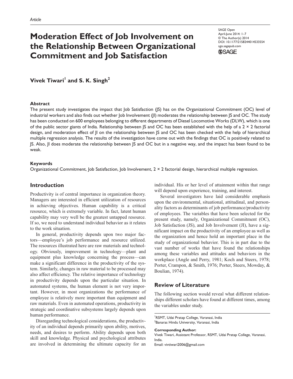 Moderation Effect of Job Involvement on the Relationship Between
