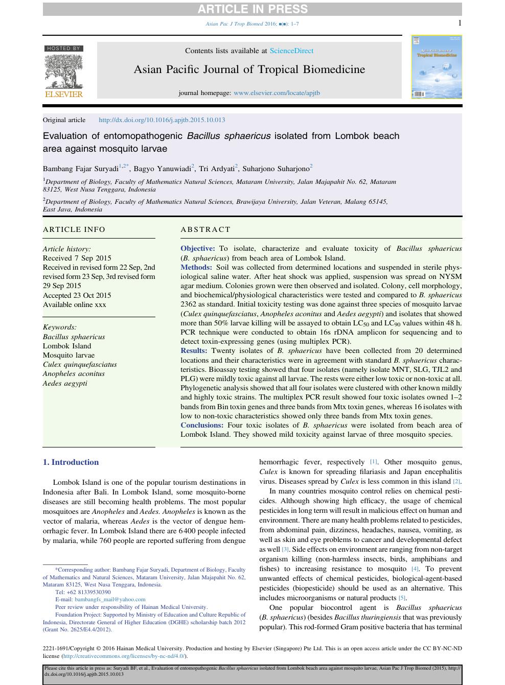 Evaluation of entomopathogenic Bacillus sphaericus isolated from