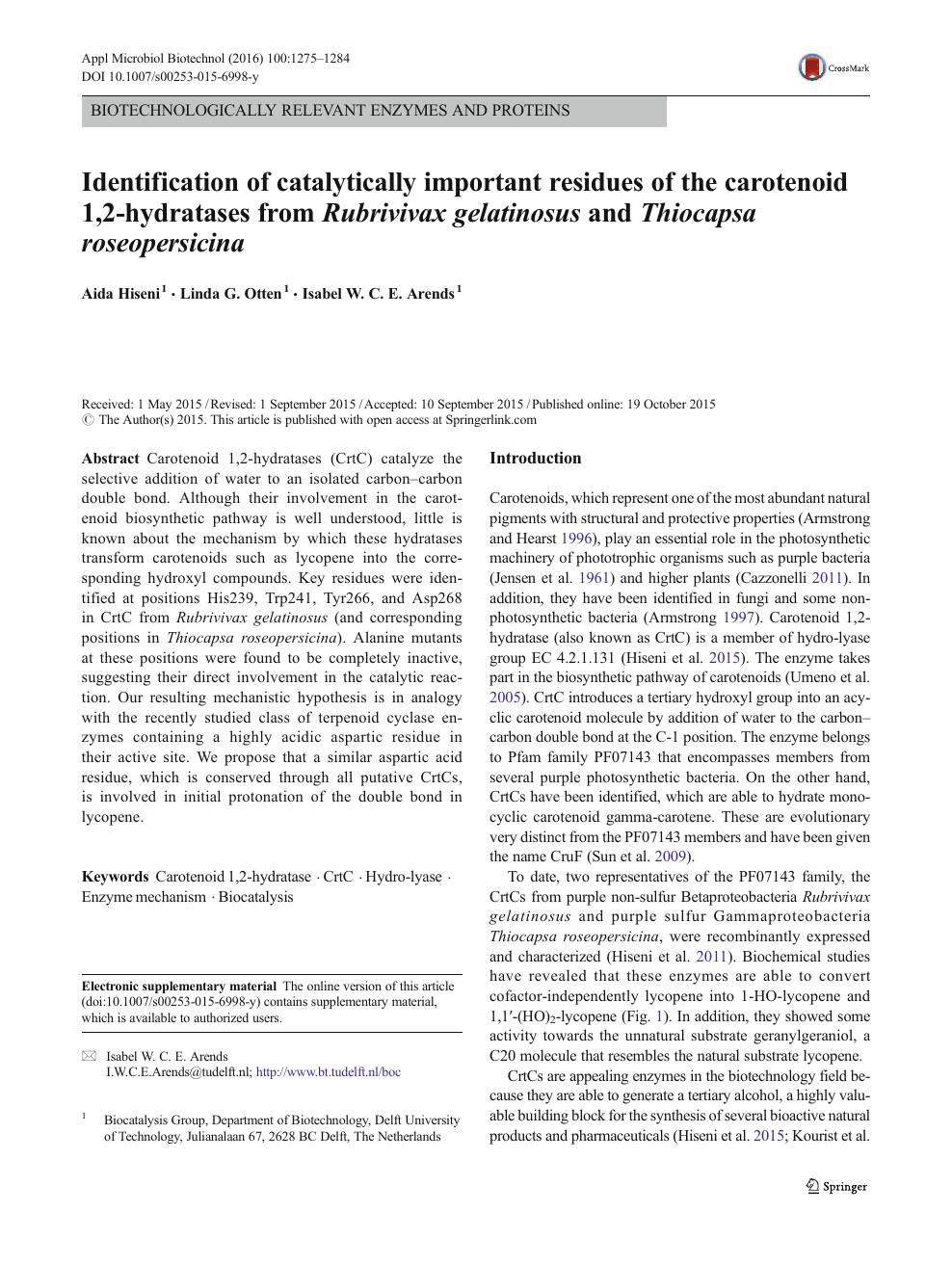 Identification of catalytically important residues of the