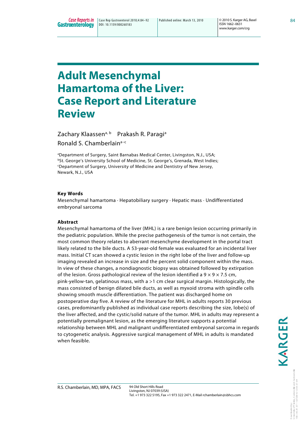Adult Mesenchymal Hamartoma of the Liver: Case Report and