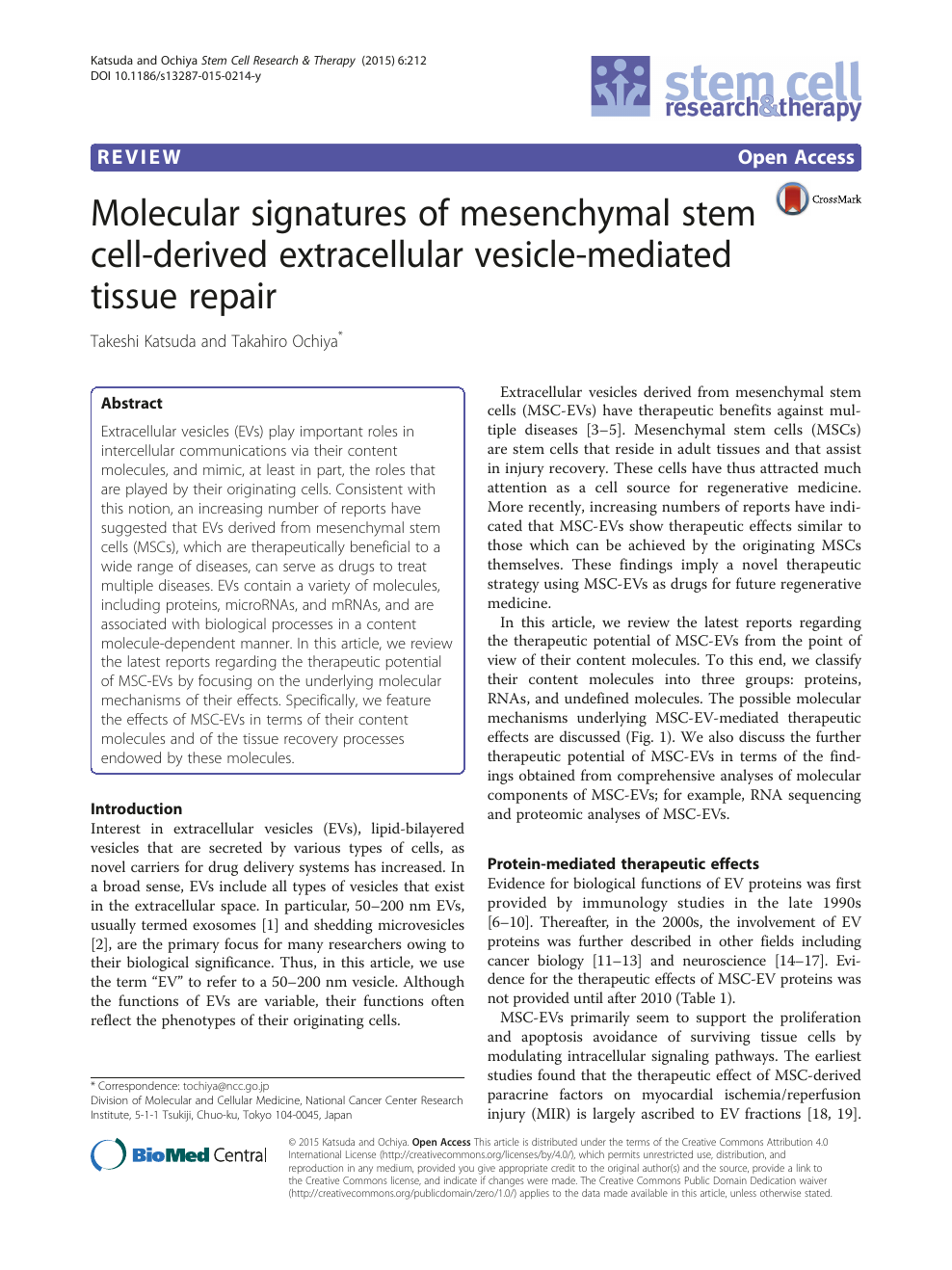 Molecular signatures of mesenchymal stem cell-derived