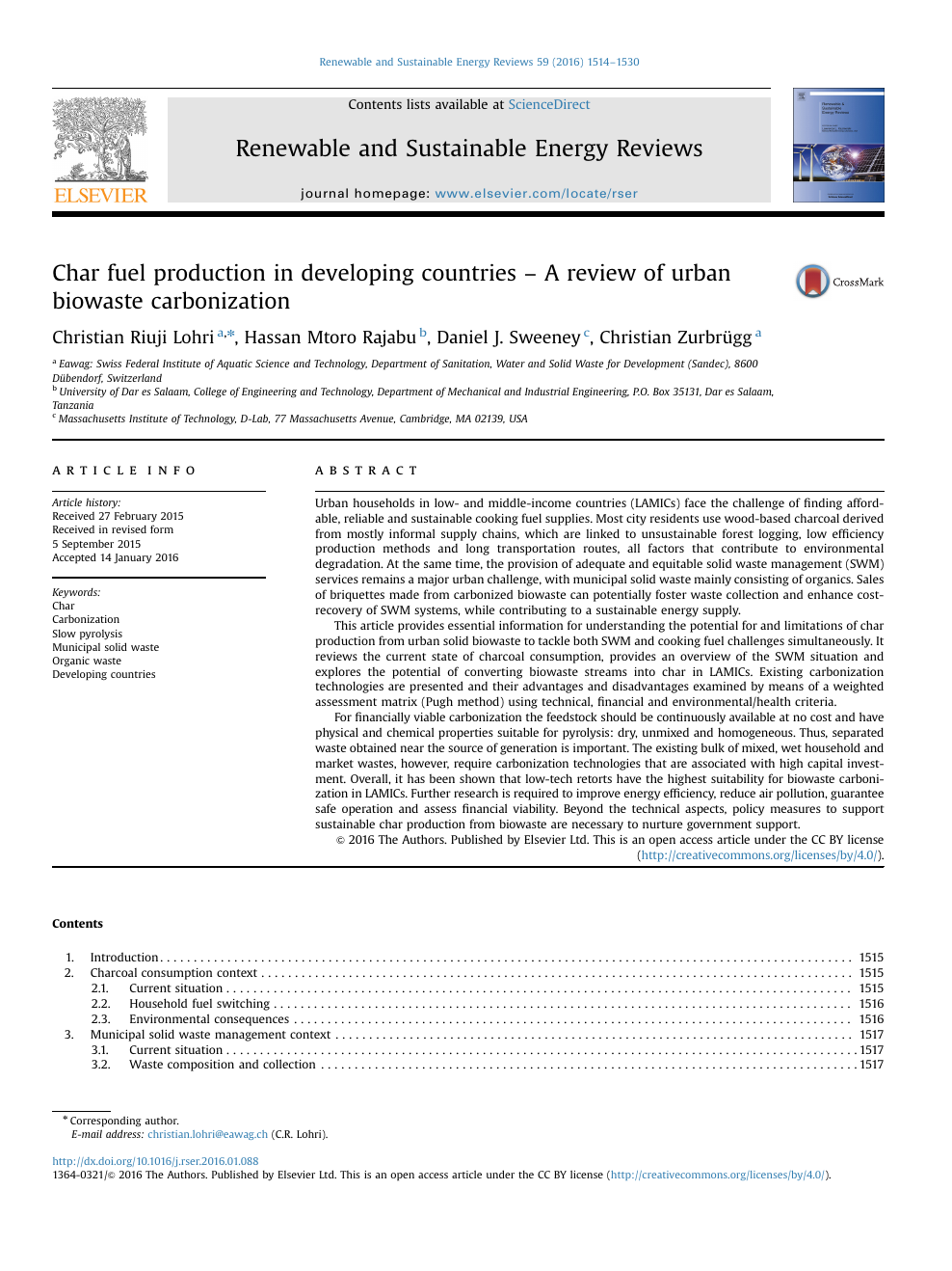 Char fuel production in developing countries – A review of