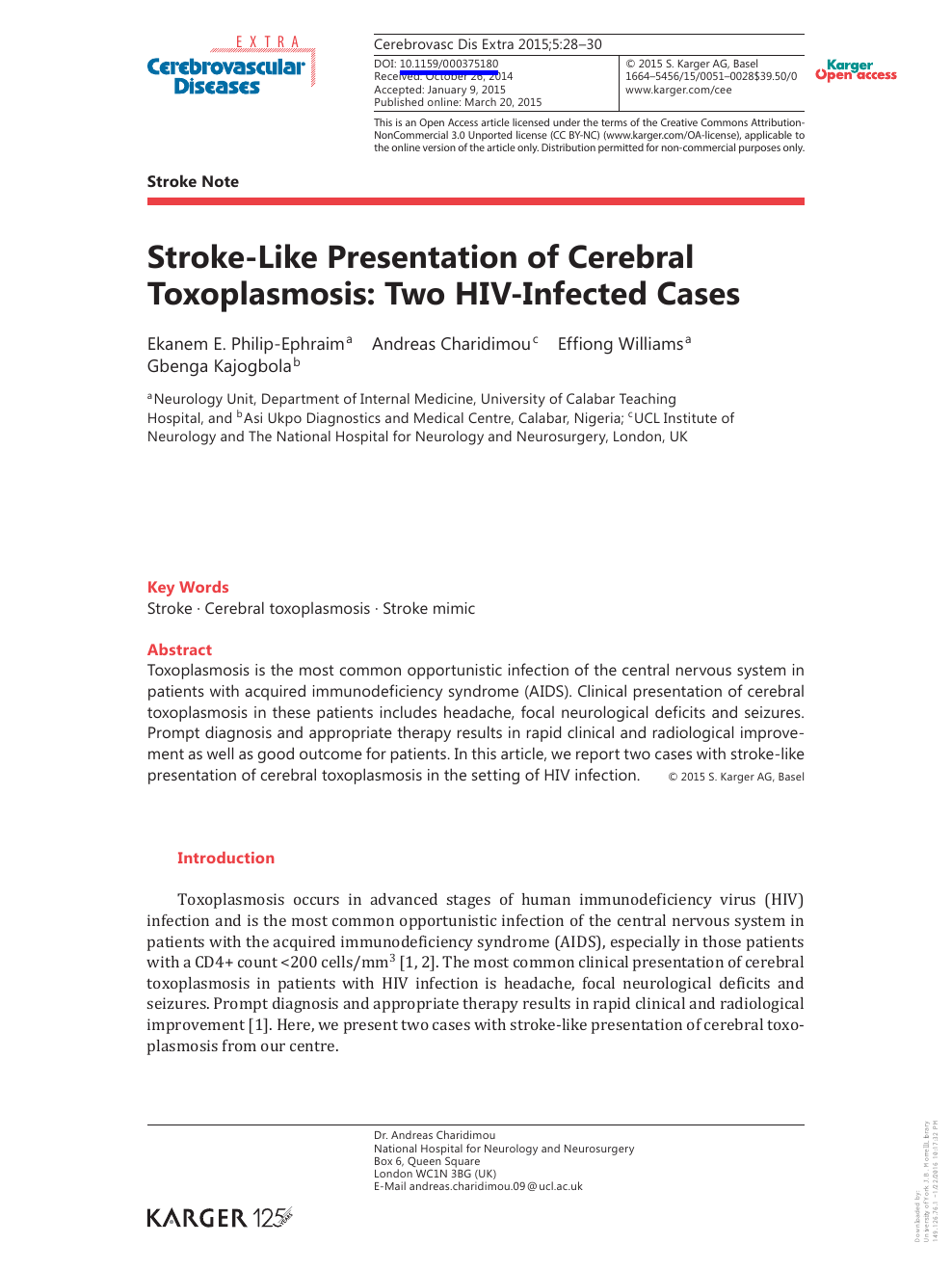 strokelike presentation of cerebral toxoplasmosis two hivinfected  read paper