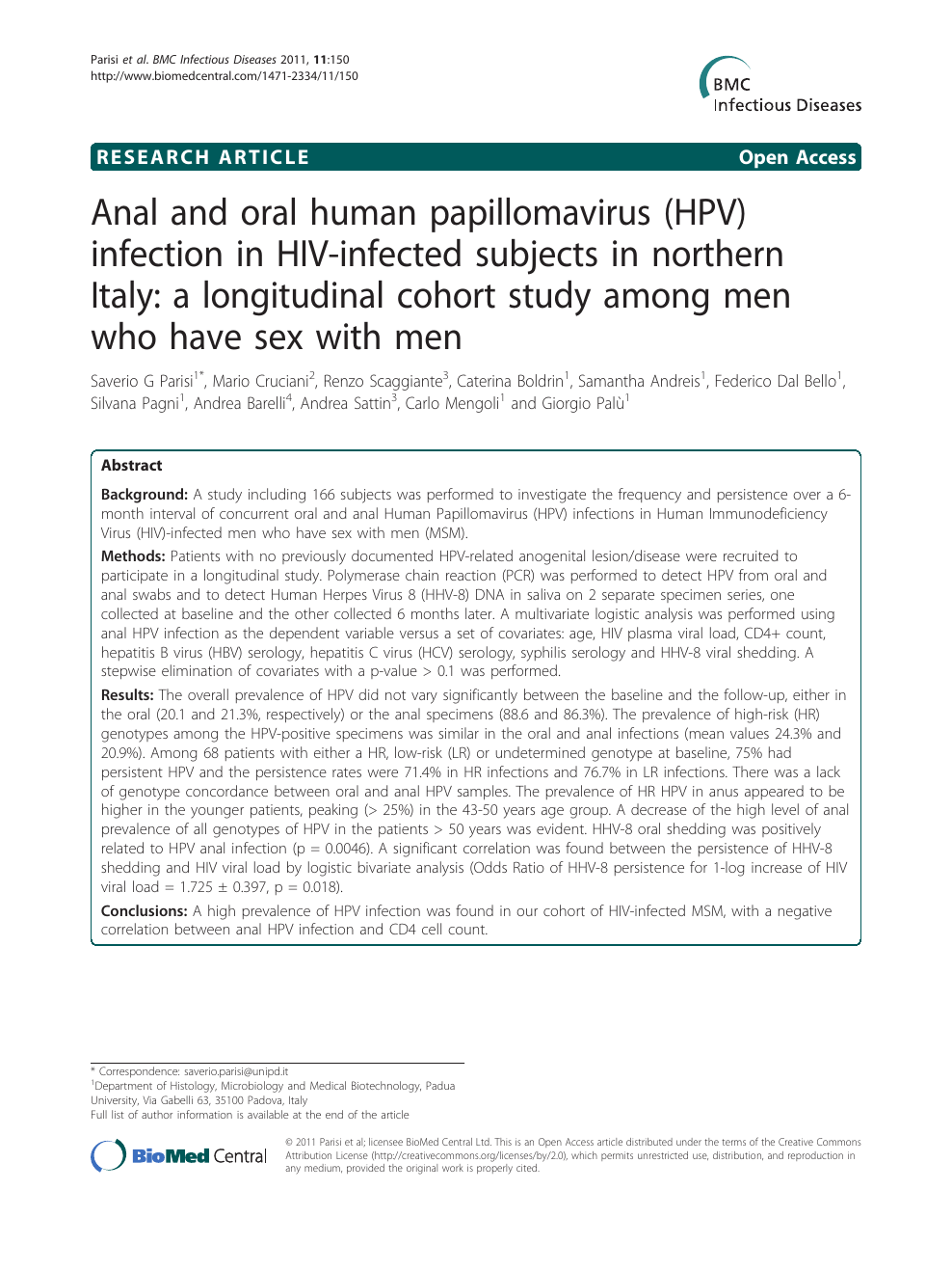 Anal and oral human papillomavirus (HPV) infection in HIV-infected