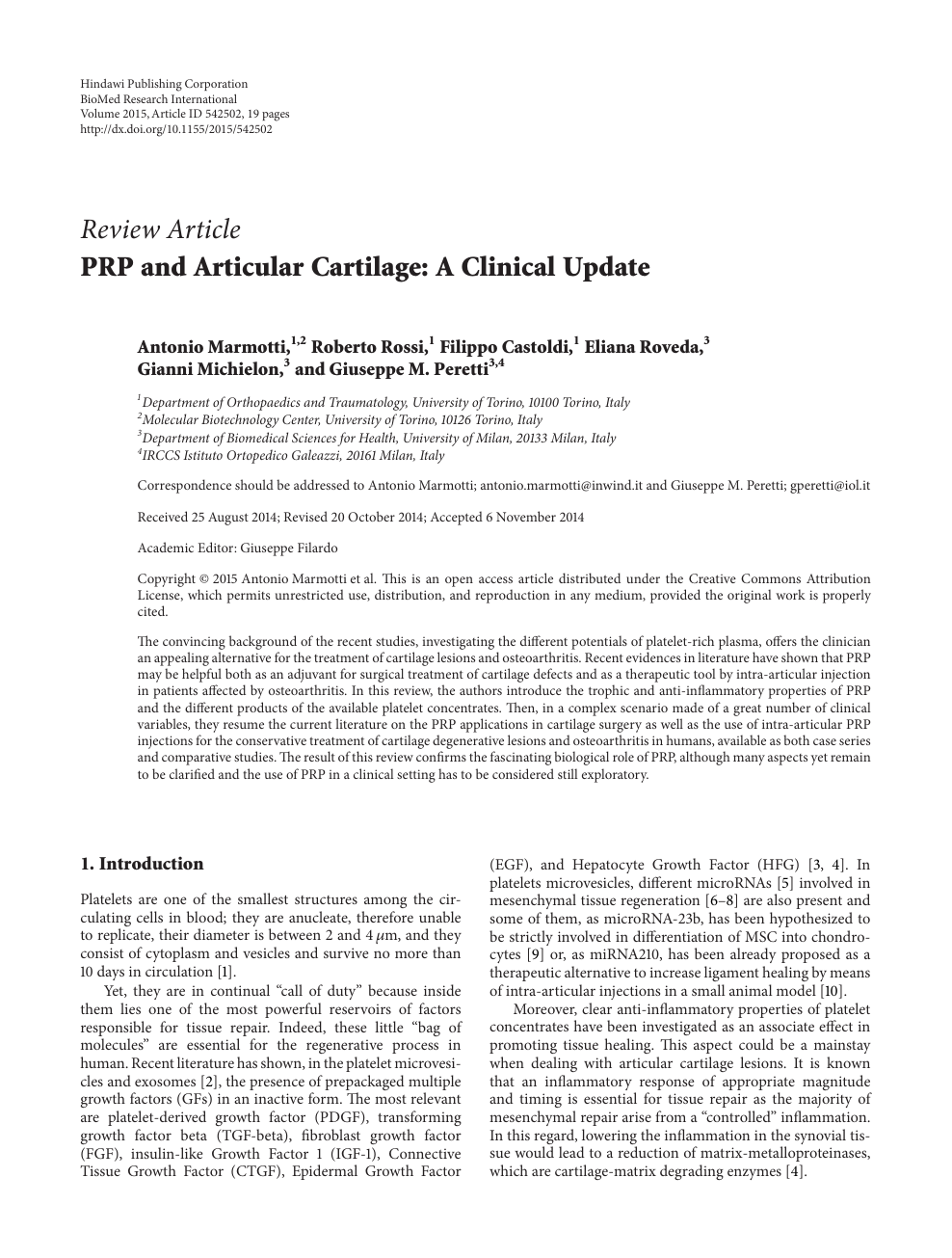 PRP and Articular Cartilage: A Clinical Update – topic of research