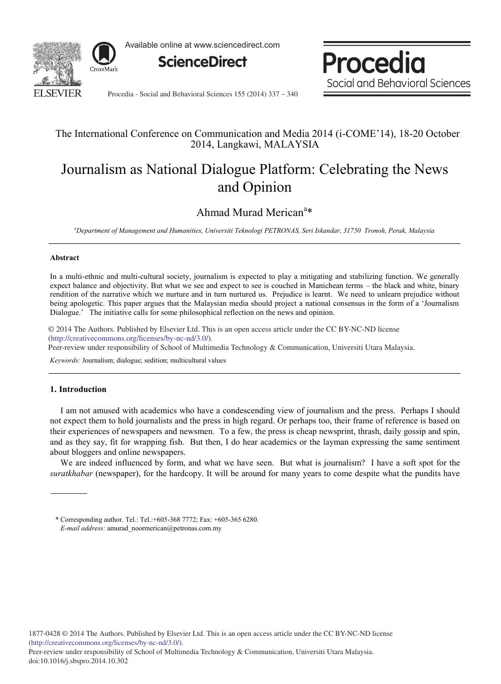 Journalism as National Dialogue Platform: Celebrating the