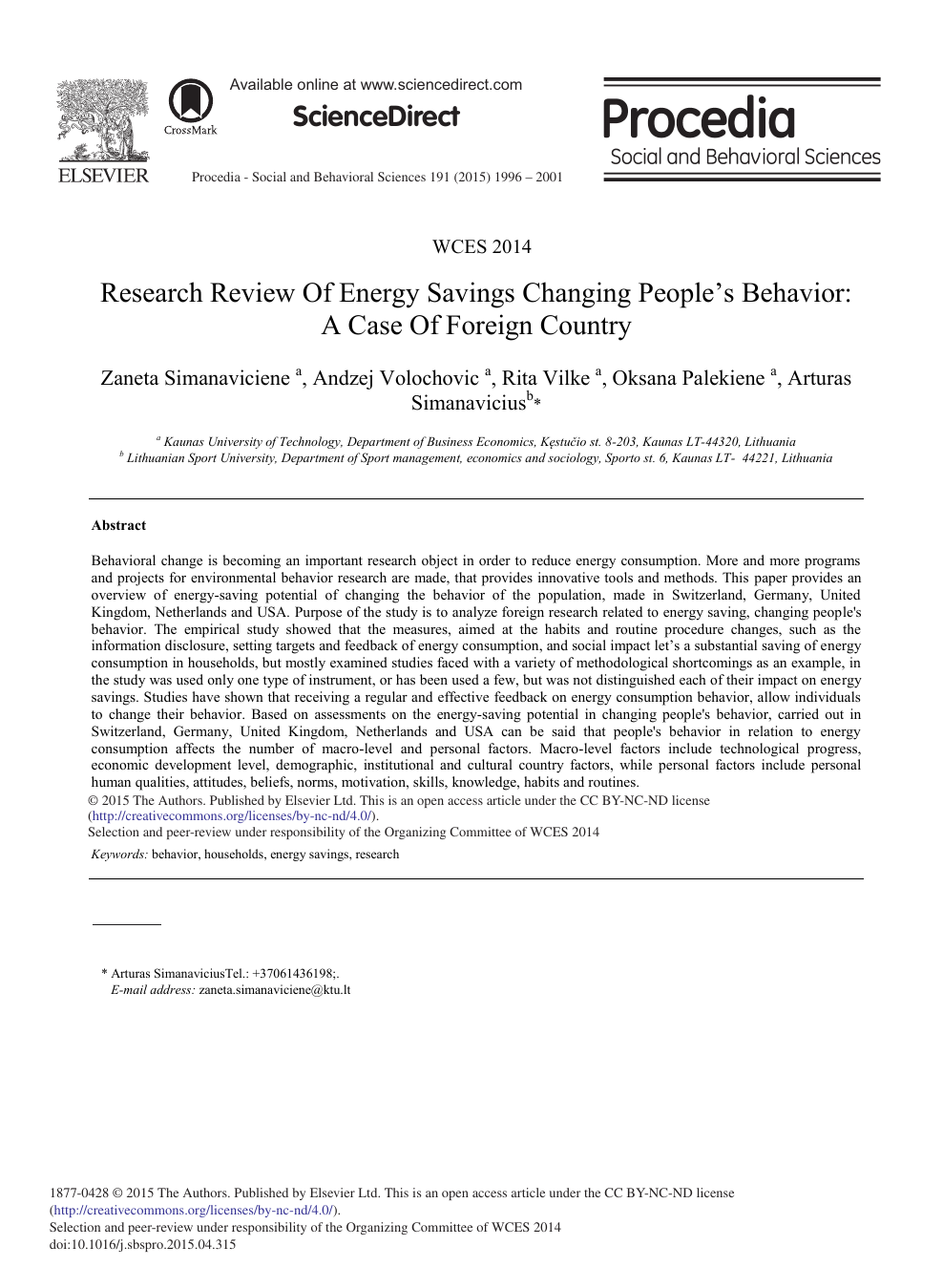 Research Review of Energy Savings Changing People's Behavior