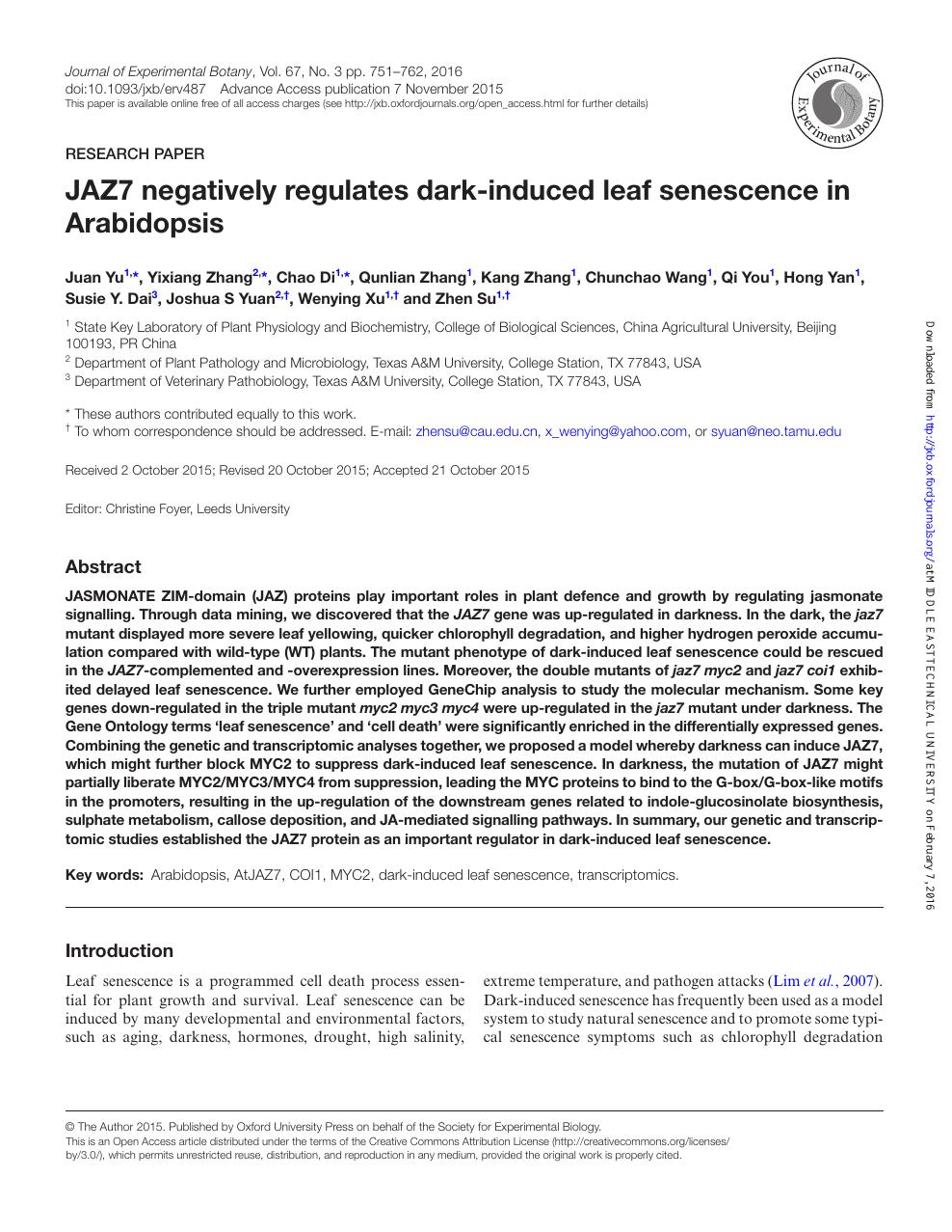 JAZ7 negatively regulates dark-induced leaf senescence in