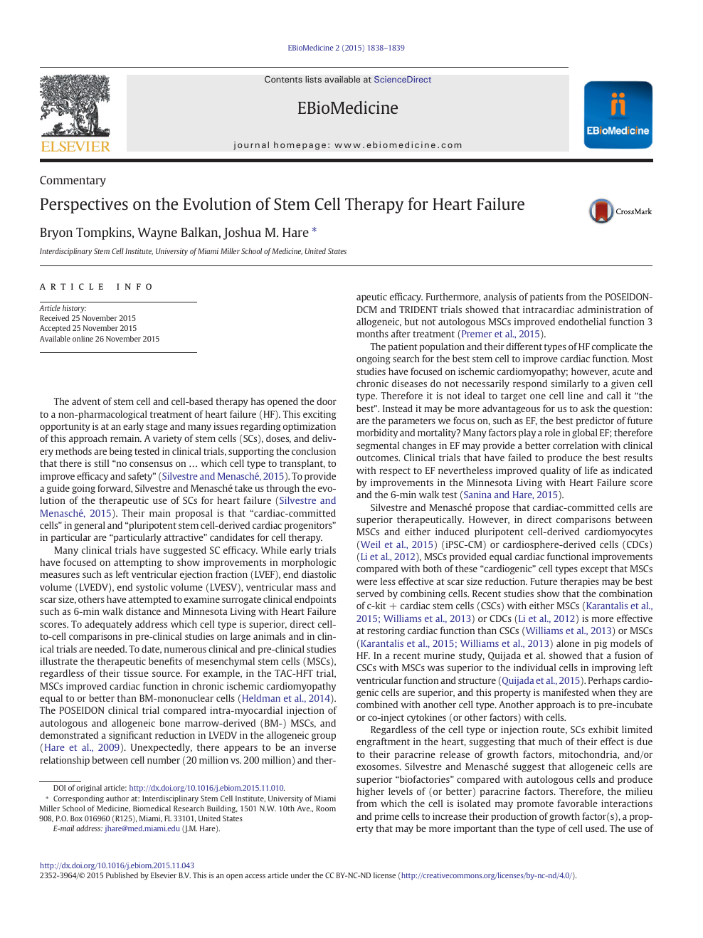 Perspectives on the Evolution of Stem Cell Therapy for Heart
