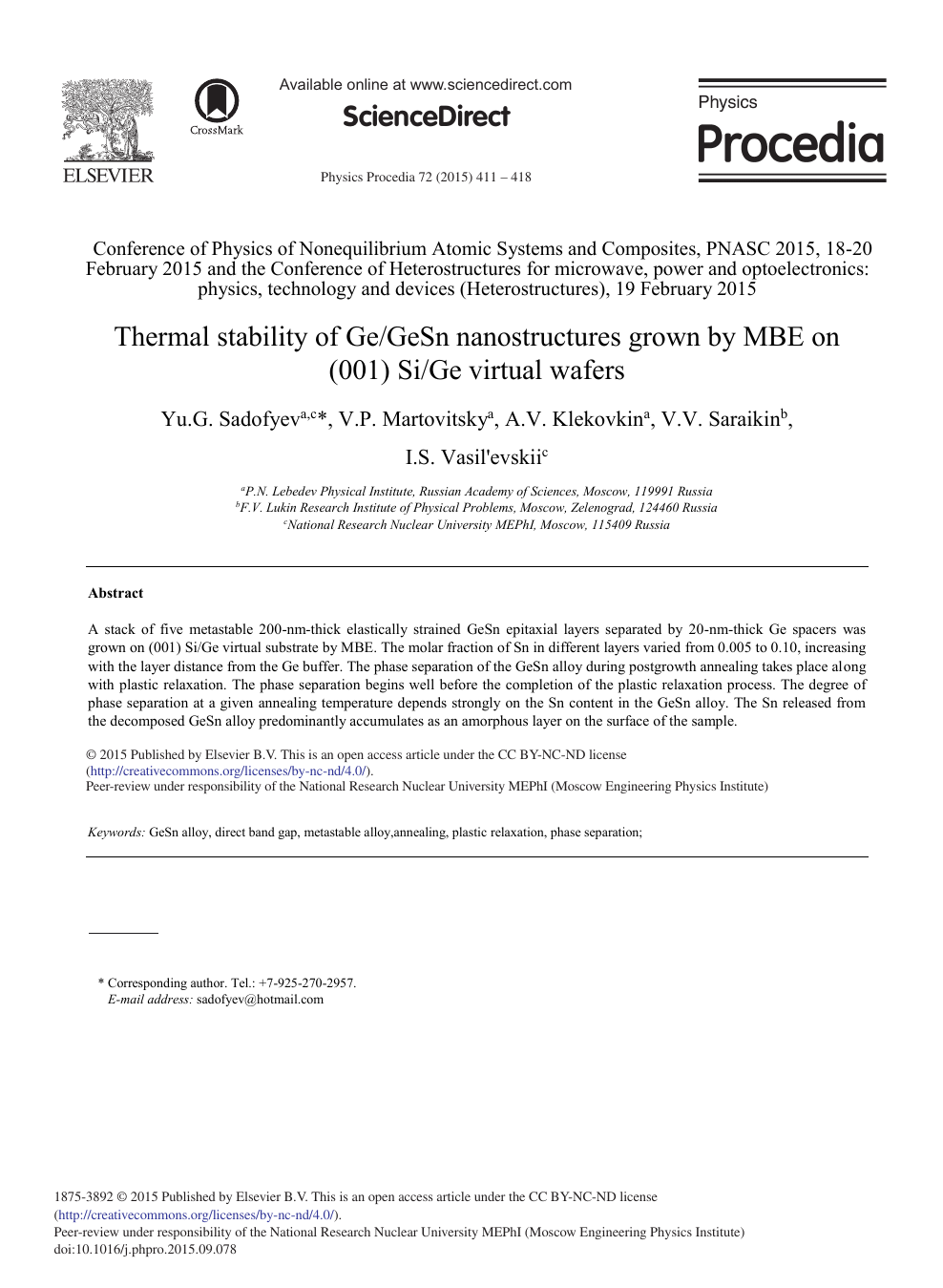 Thermal Stability of Ge/GeSn Nanostructures Grown by MBE on (001) Si