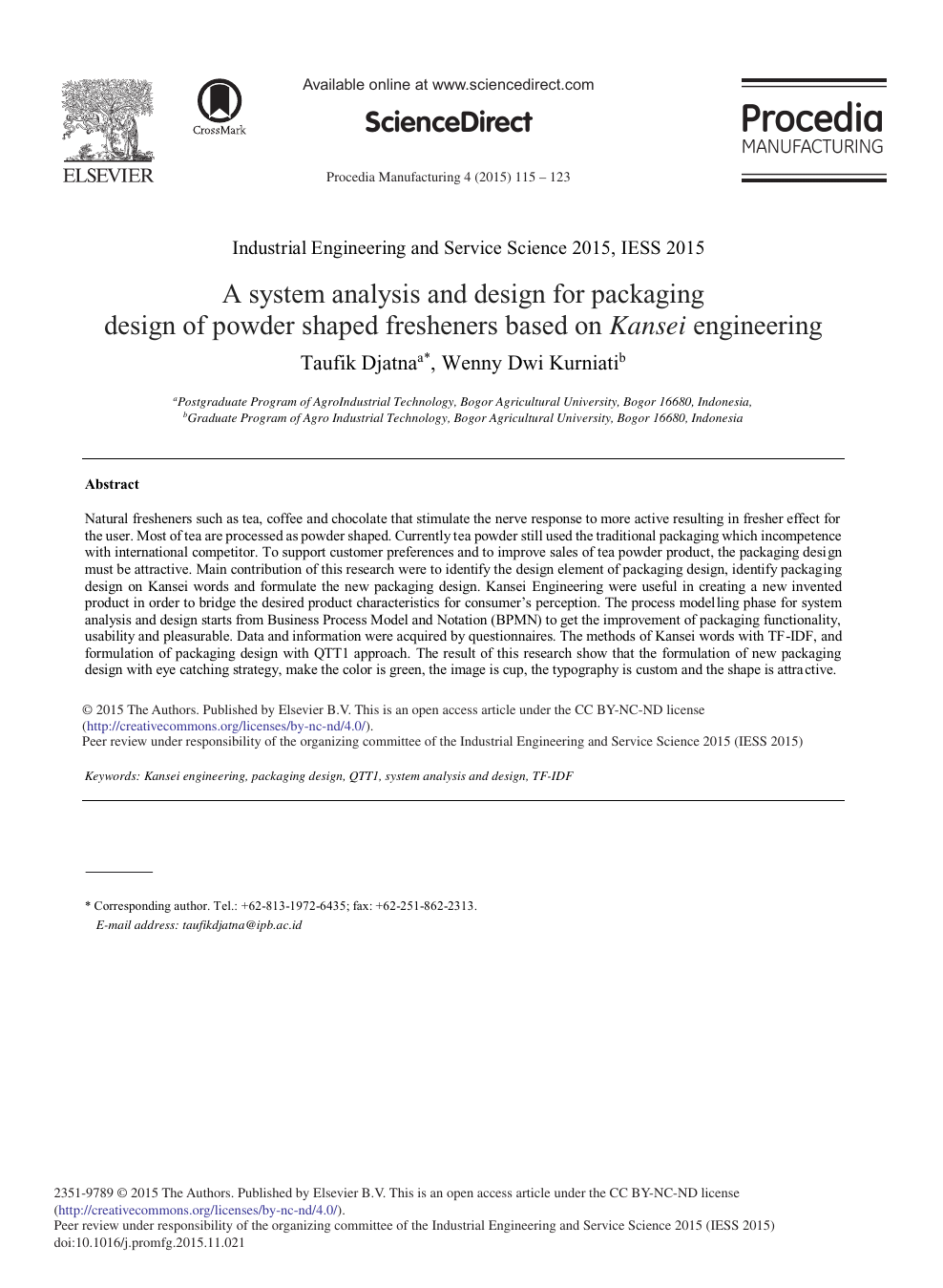 A System Analysis And Design For Packaging Design Of Powder Shaped Fresheners Based On Kansei Engineering Topic Of Research Paper In Civil Engineering Download Scholarly Article Pdf And Read For Free