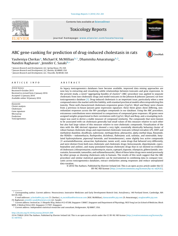 ABC gene-ranking for prediction of drug-induced cholestasis