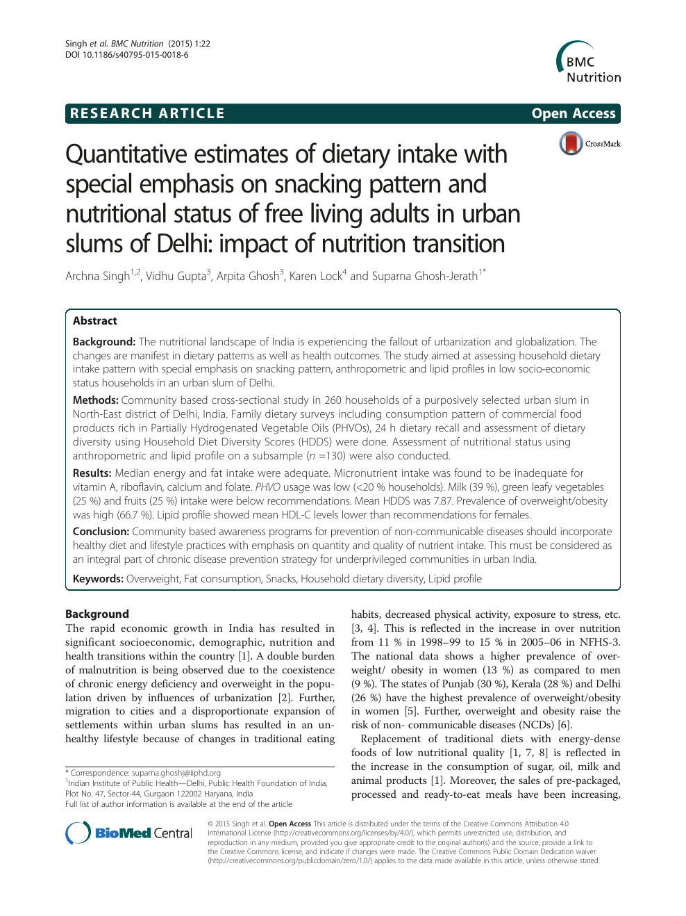 Quantitative estimates of dietary intake with special